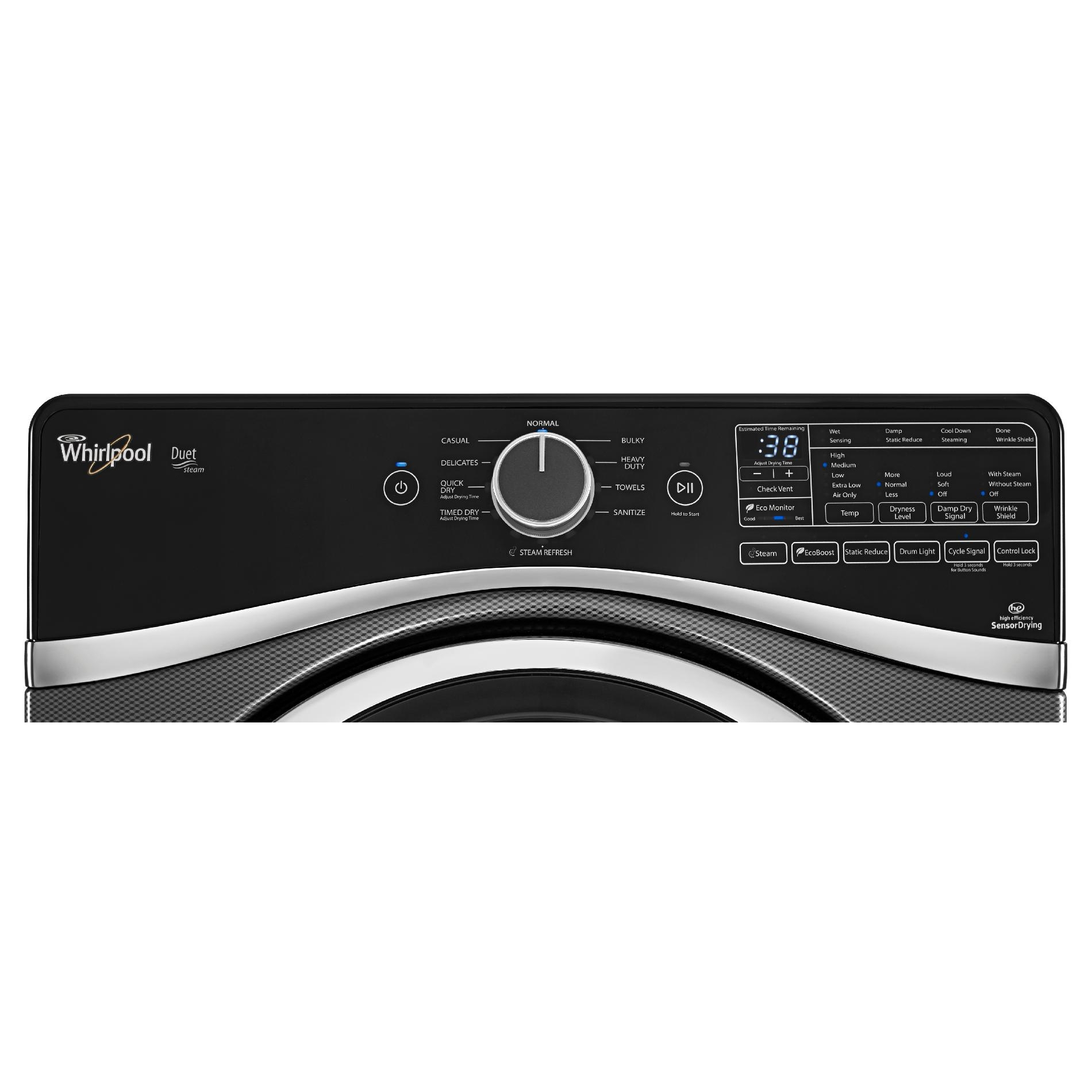 Whirlpool WGD97HEDBD 7.4 cu. ft. Duet® Gas Dryer w/ SilentSteel™ Drum - Black Diamond