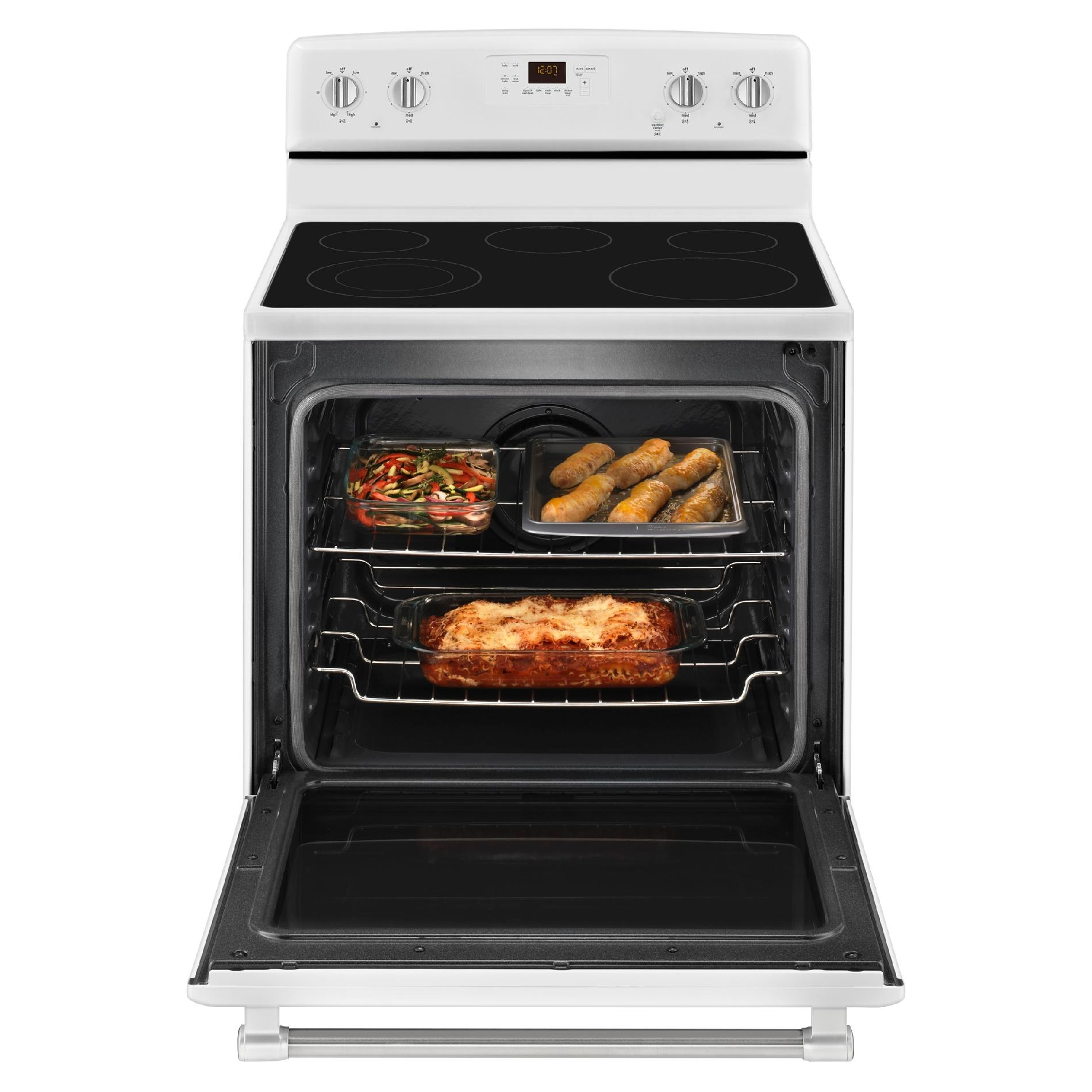 Maytag MER8600DH 6.2 cu. ft. Electric Range w/ Dual Element - White w/ Stainless Handle