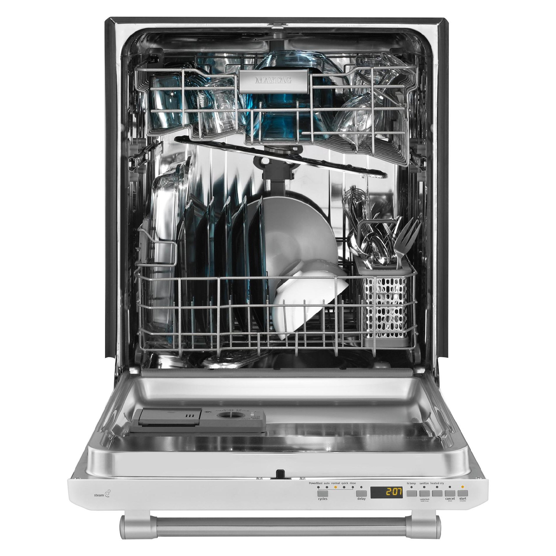 "Maytag 24"" Built-In Dishwasher w/ Stainless Steel Silverware Basket - White w/ Stainless Handle"