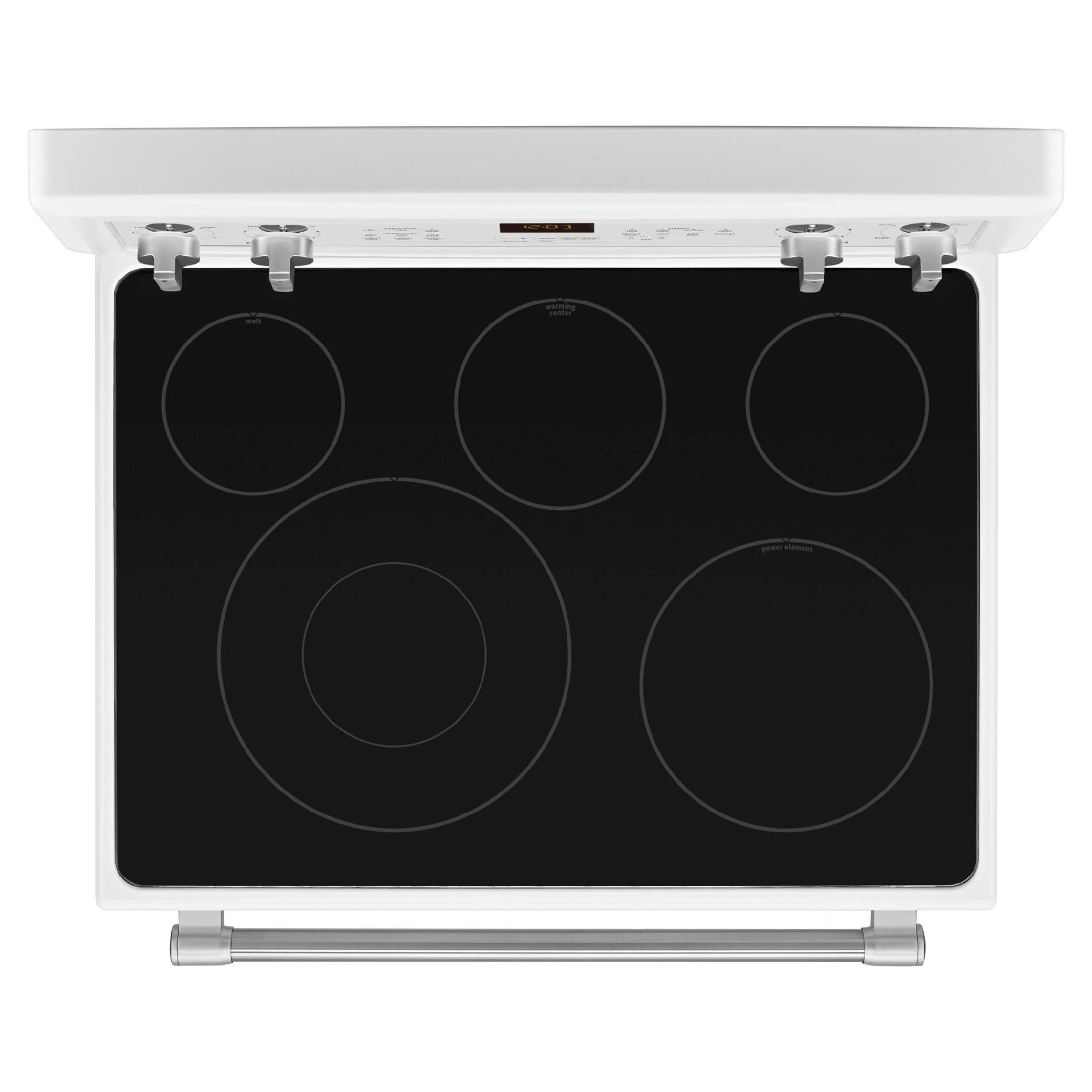 Maytag MET8720DH 6.7 cu. ft. Electric Double-Oven Range - White w/ Stainless Handle