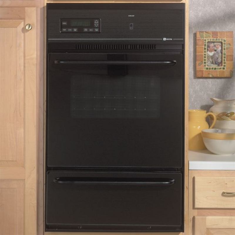 "Maytag 24"" Black Gas Single Standard Clean Wall Oven with Electronic Controls"