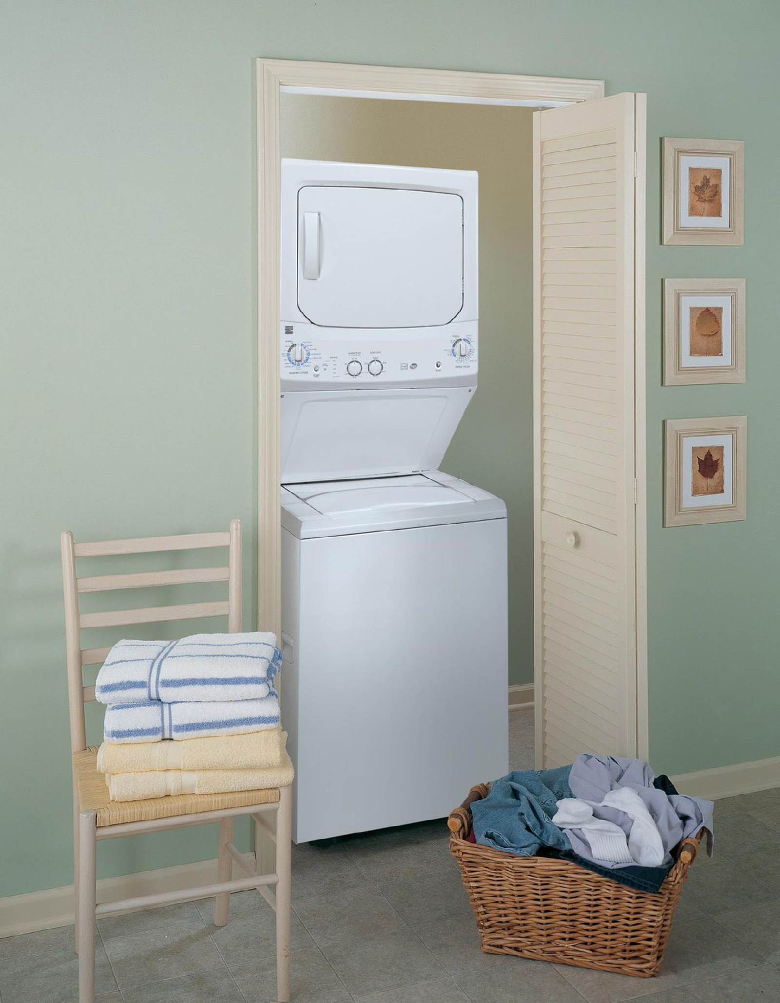 "Kenmore 27"" HE Stacked Laundry Center w/ Electric Dryer"