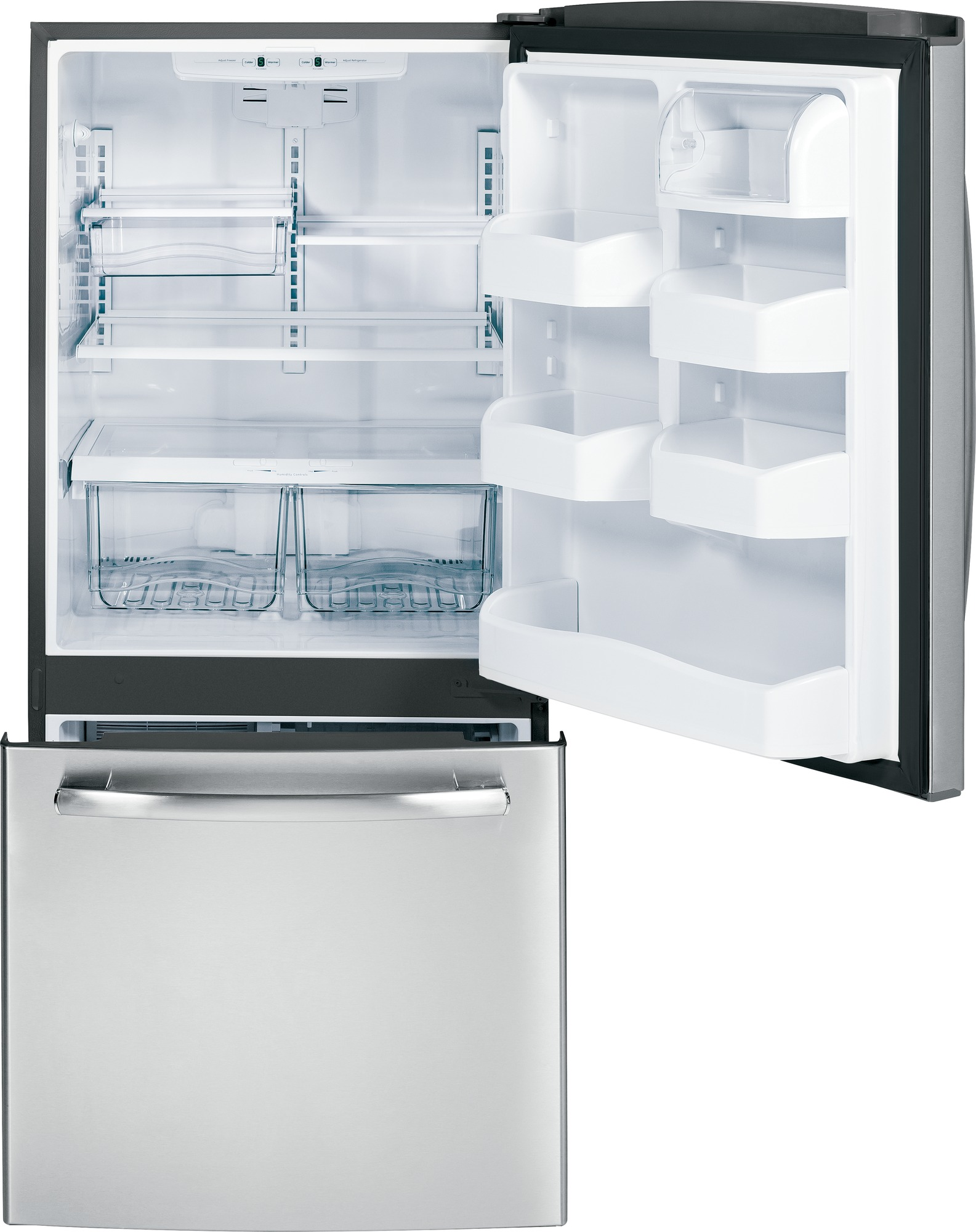 GE Appliances 20.3 cu. ft. Bottom-Freezer Refrigerator - Stainless Steel