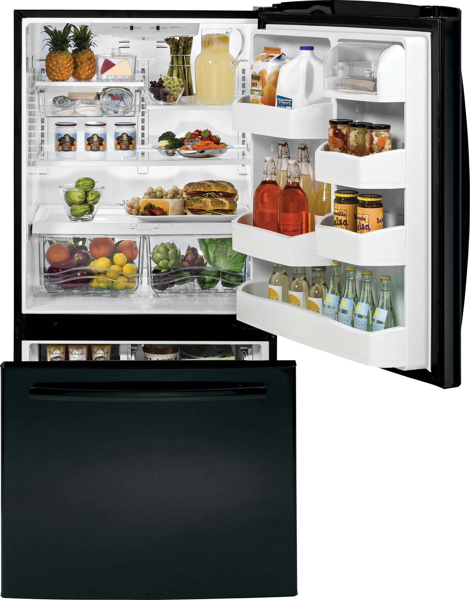 GE Appliances GDE20GGHBB 20.3 cu. ft. Bottom-Freezer Refrigerator - Black