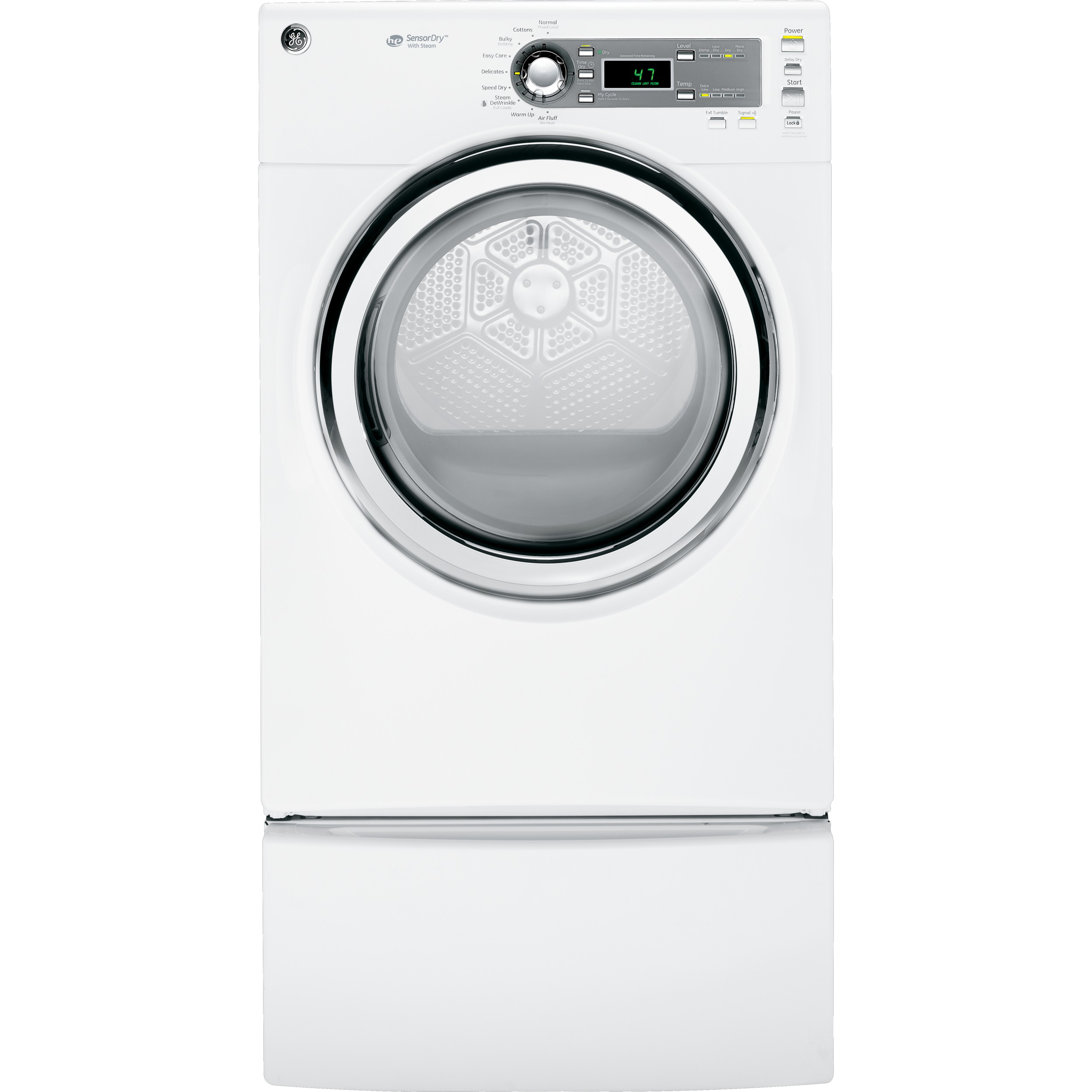 GE 7.0 cut. ft. Steam Gas Dryer - White