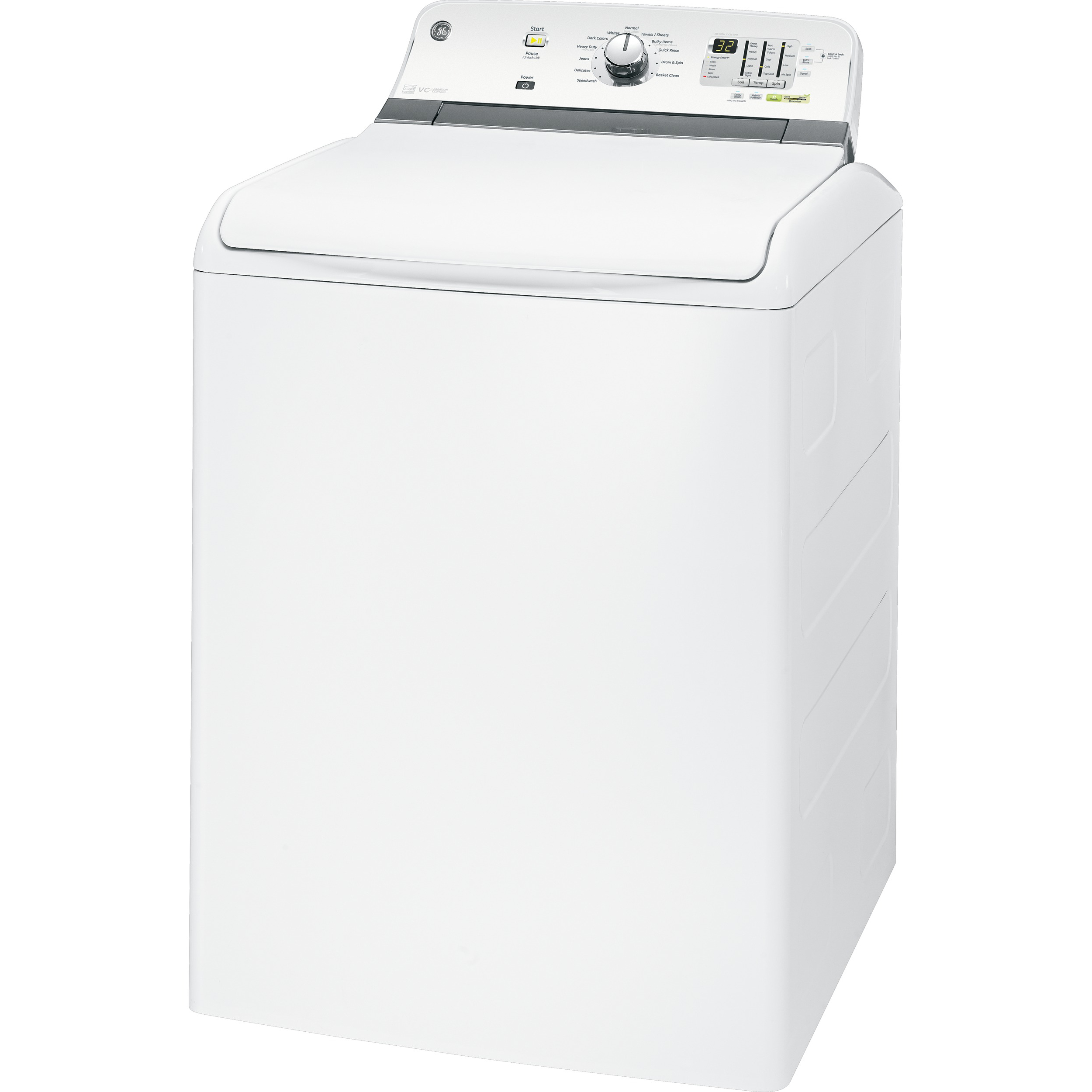GE 4.6 cu. ft. High-Efficiency Top-Load Washer w/ Stainless Steel Basket - White