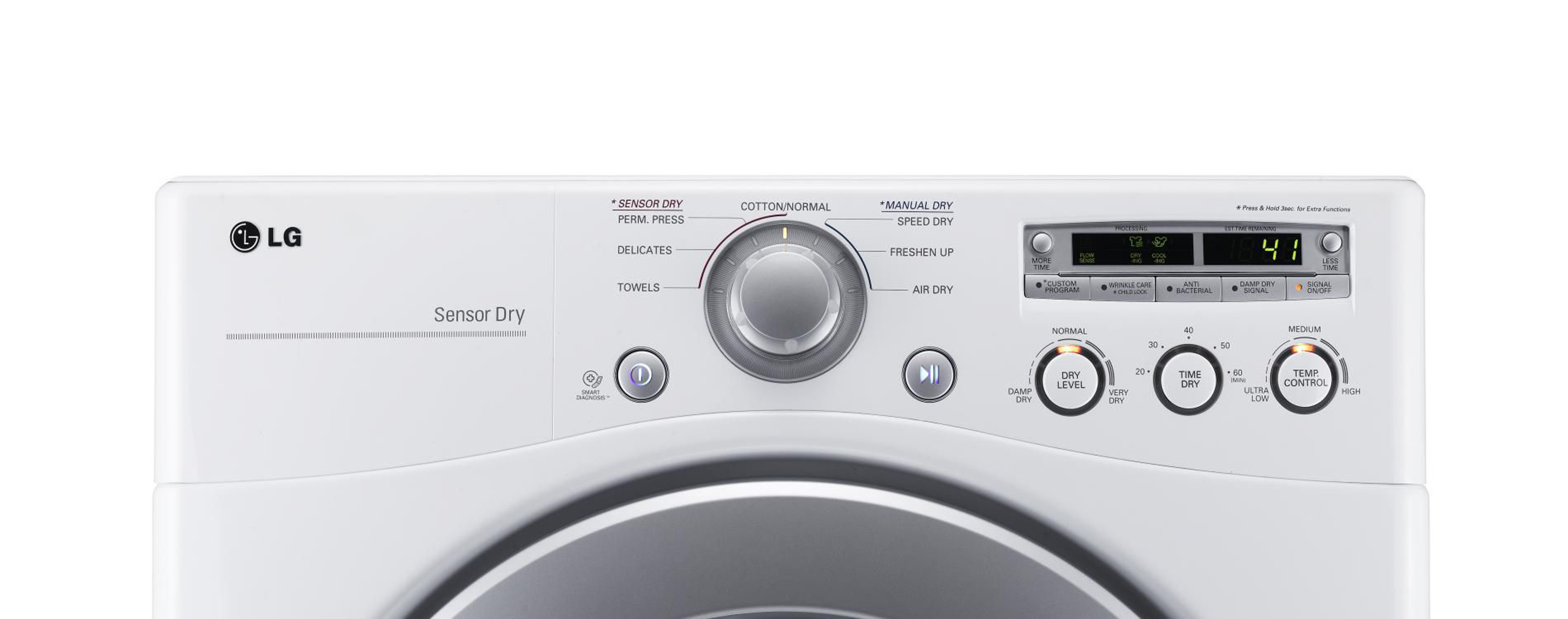 LG 7.1 cu. ft. Extra Large Capacity  Electric Dryer with Sensor Dry - White