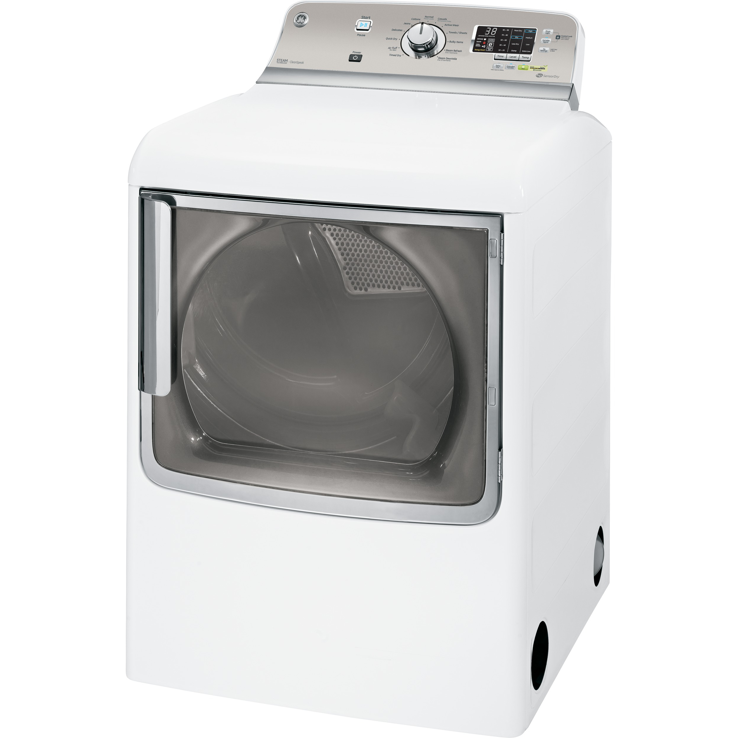 GE 7.8 cu. ft. Steam Gas Dryer w/ Stainless Steel Drum - White