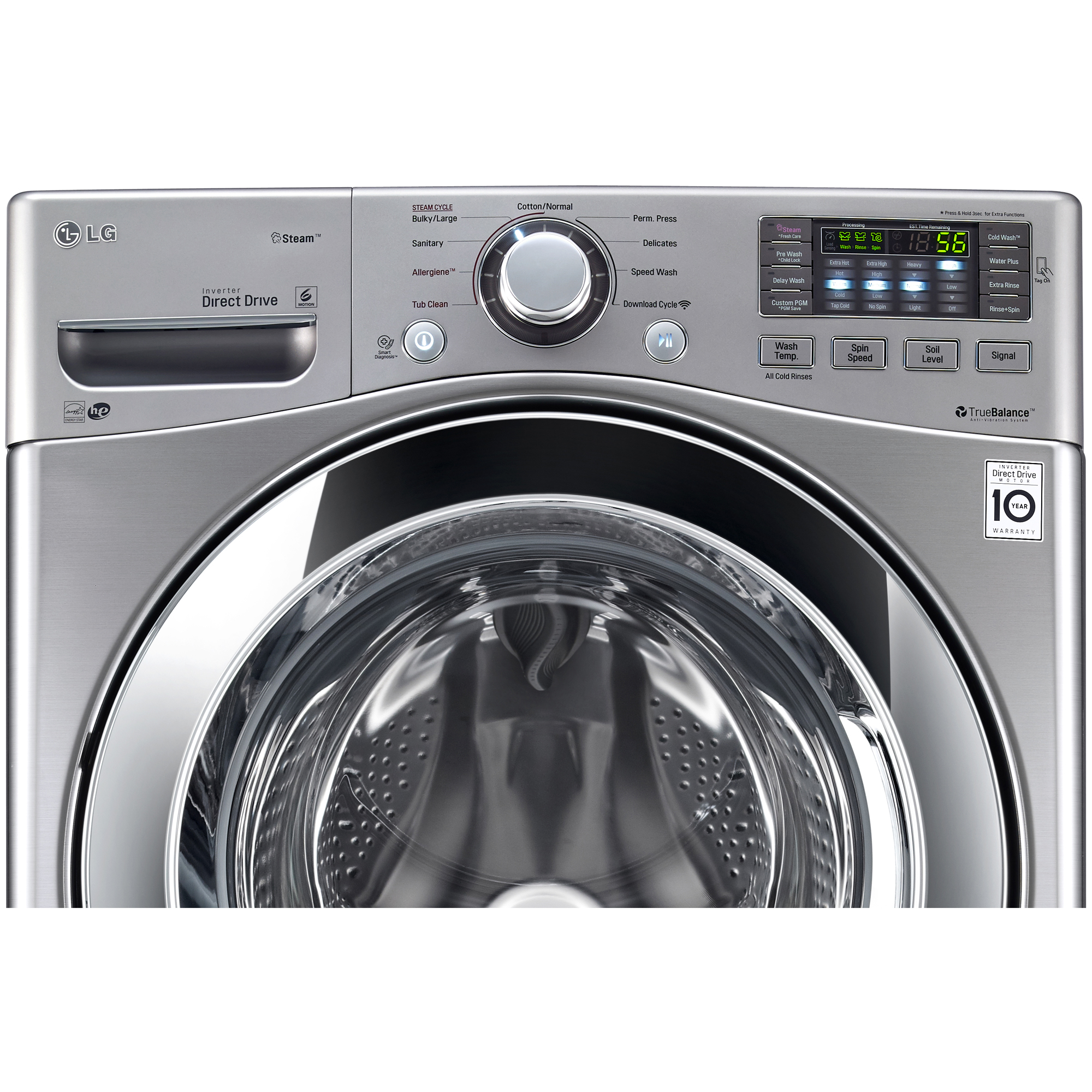 LG WM3370HVA 4.3 cu. ft. Ultra Large Capacity Graphite Steel Front Load Washer with Steam