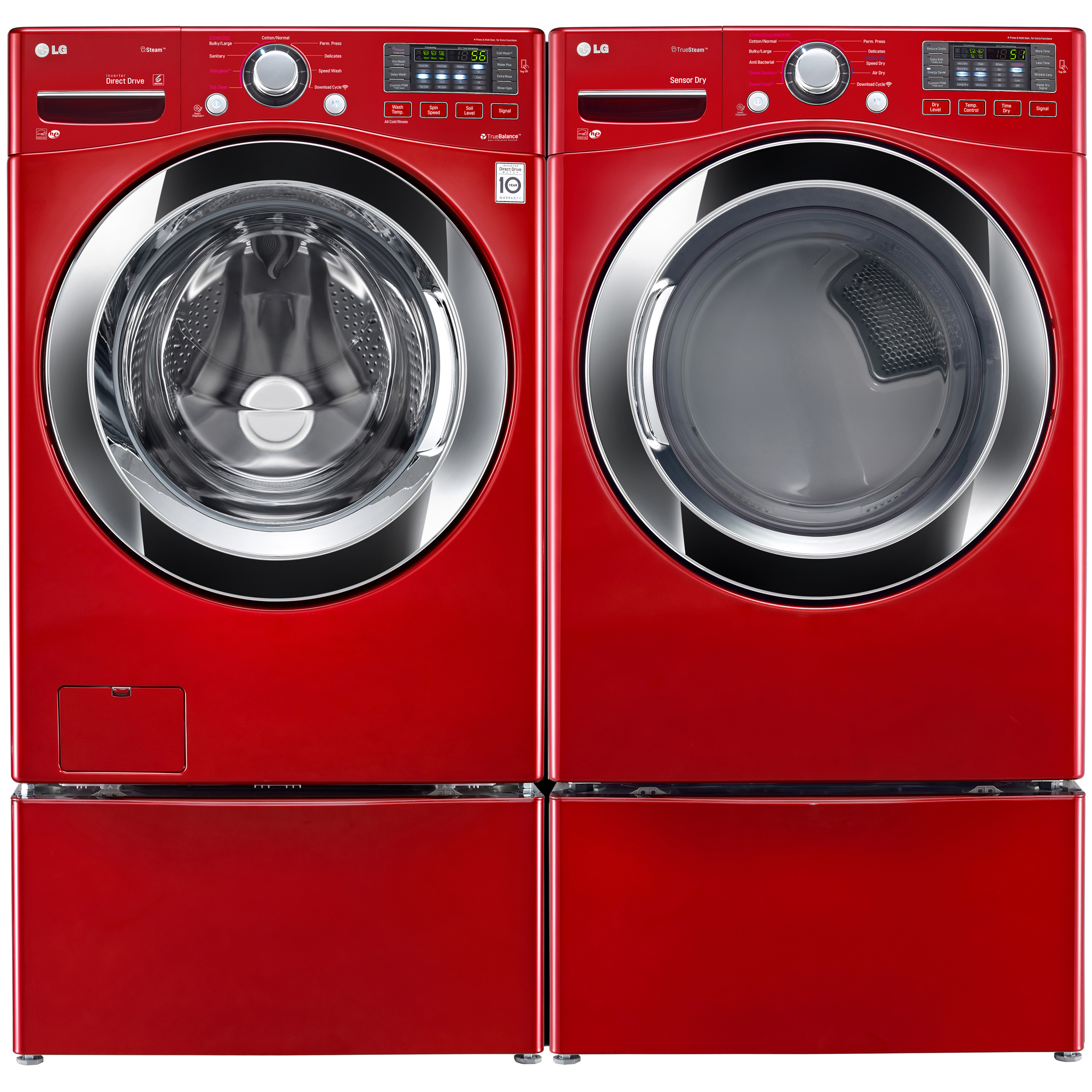 LG WM3370HRA 4.3 cu. ft. Ultra Large Capacity Front Load Washer w/ Steam – Red