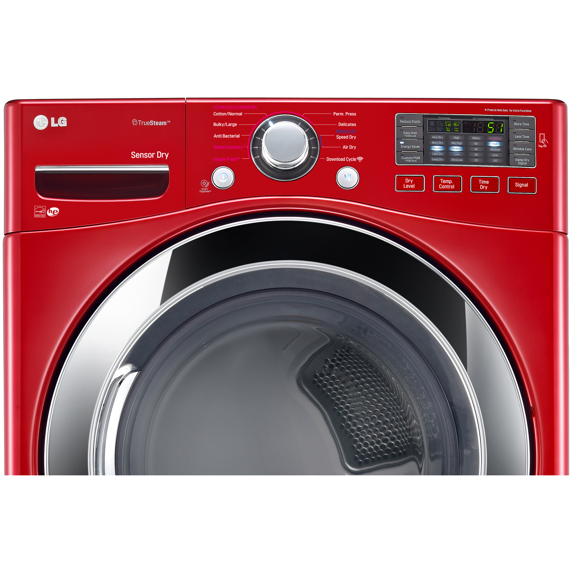 LG DLEX3370R 7.4 cu. ft. Ultra Large Capacity Electric Dryer w/ Steam – Red