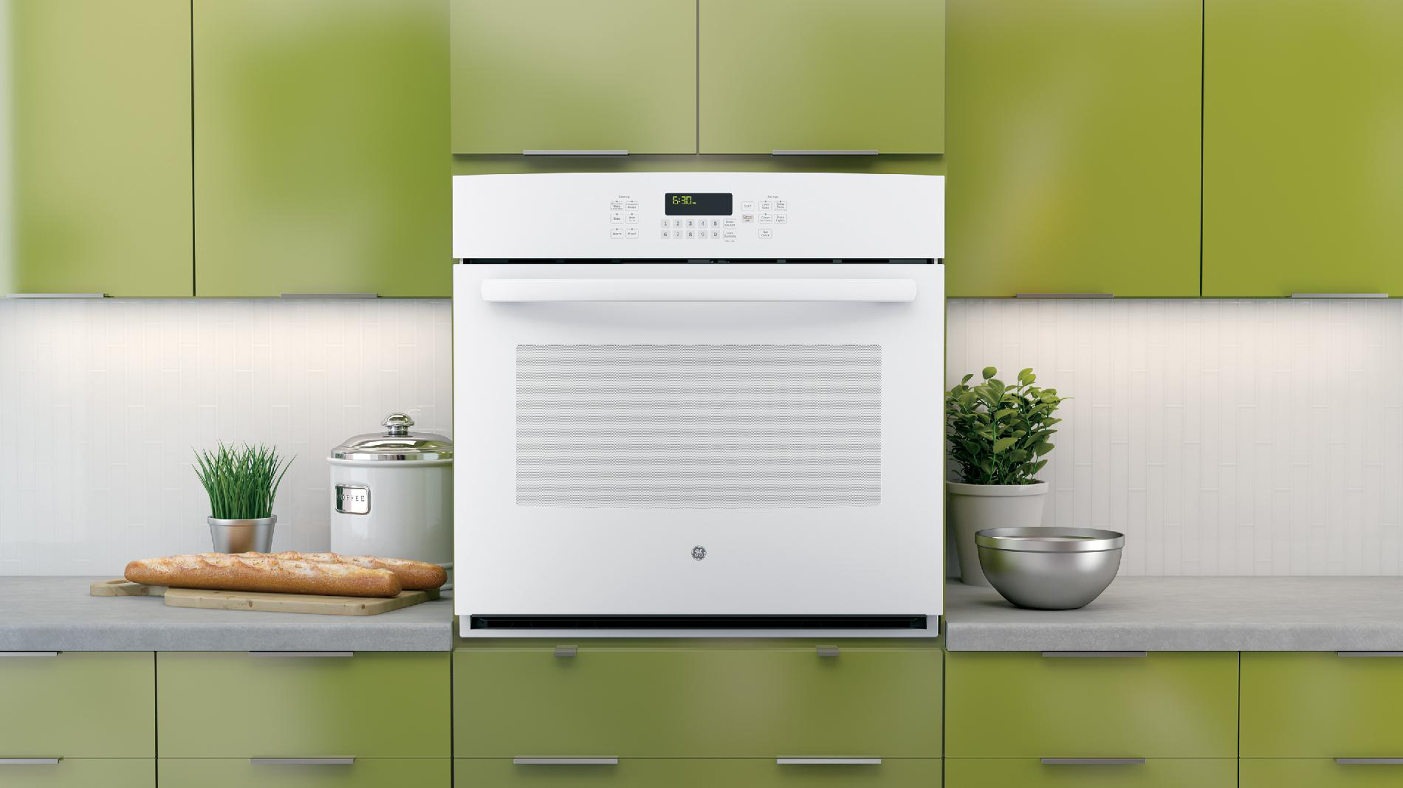 """GE 30"""" Electric Single Wall Oven w/ True Convection - White"""