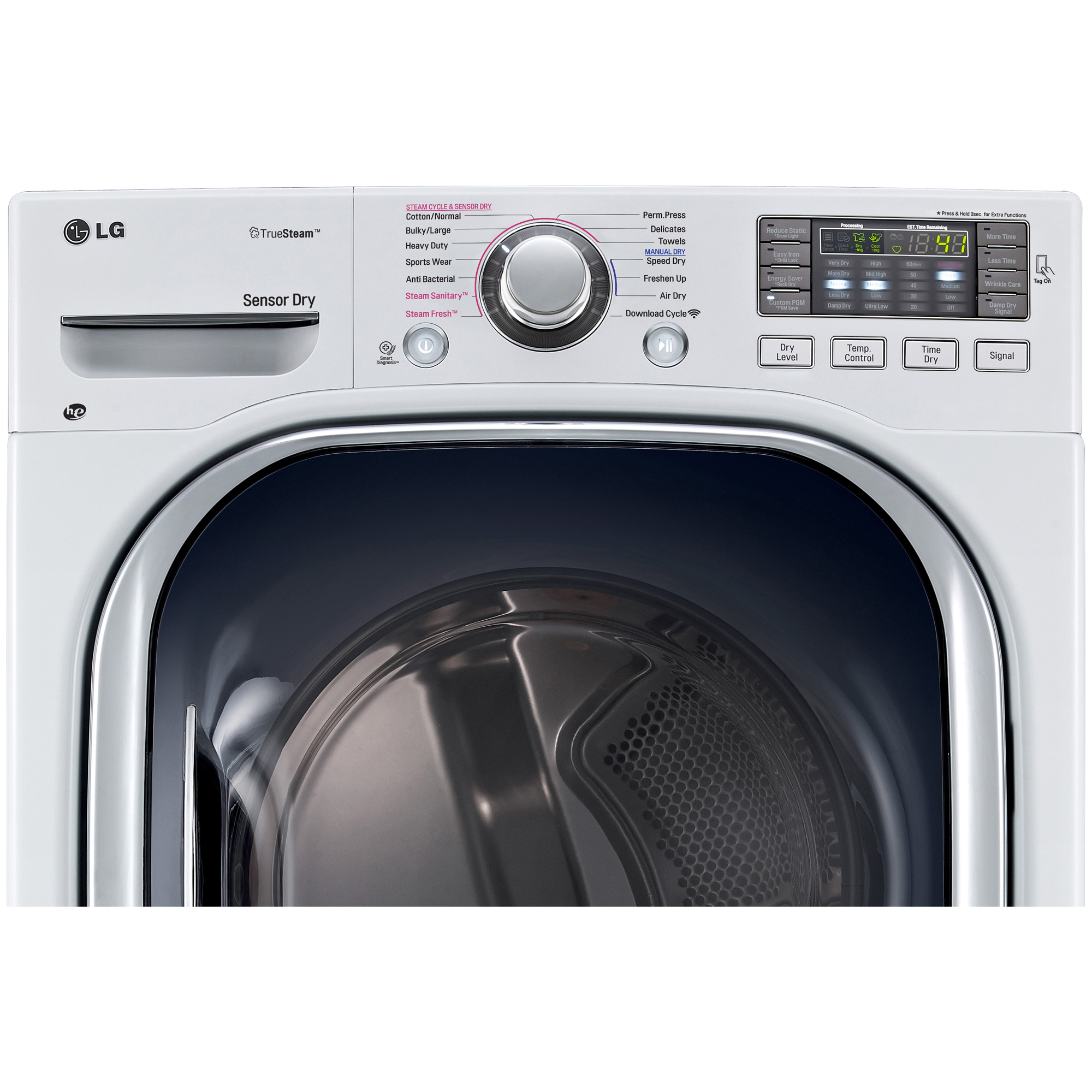 LG DLGX4271W 7.4 cu ft. Ultra Large Capacity SteamDryer™ w/ NFC Tag-On Technology – White