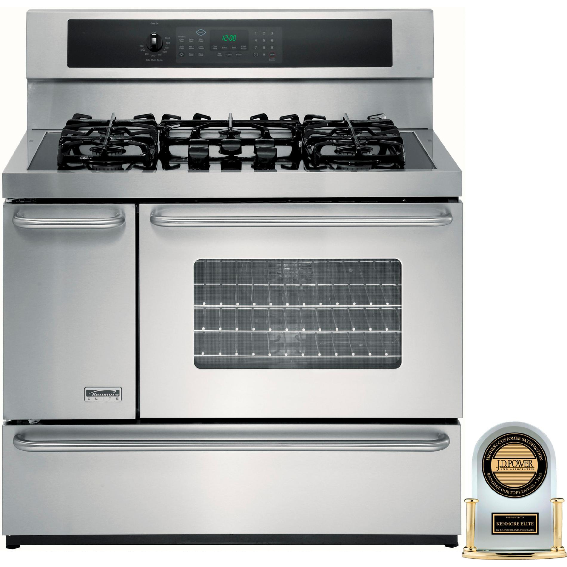 "Kenmore Elite 40"" Double-Oven Dual-Fuel Range w/Convection"