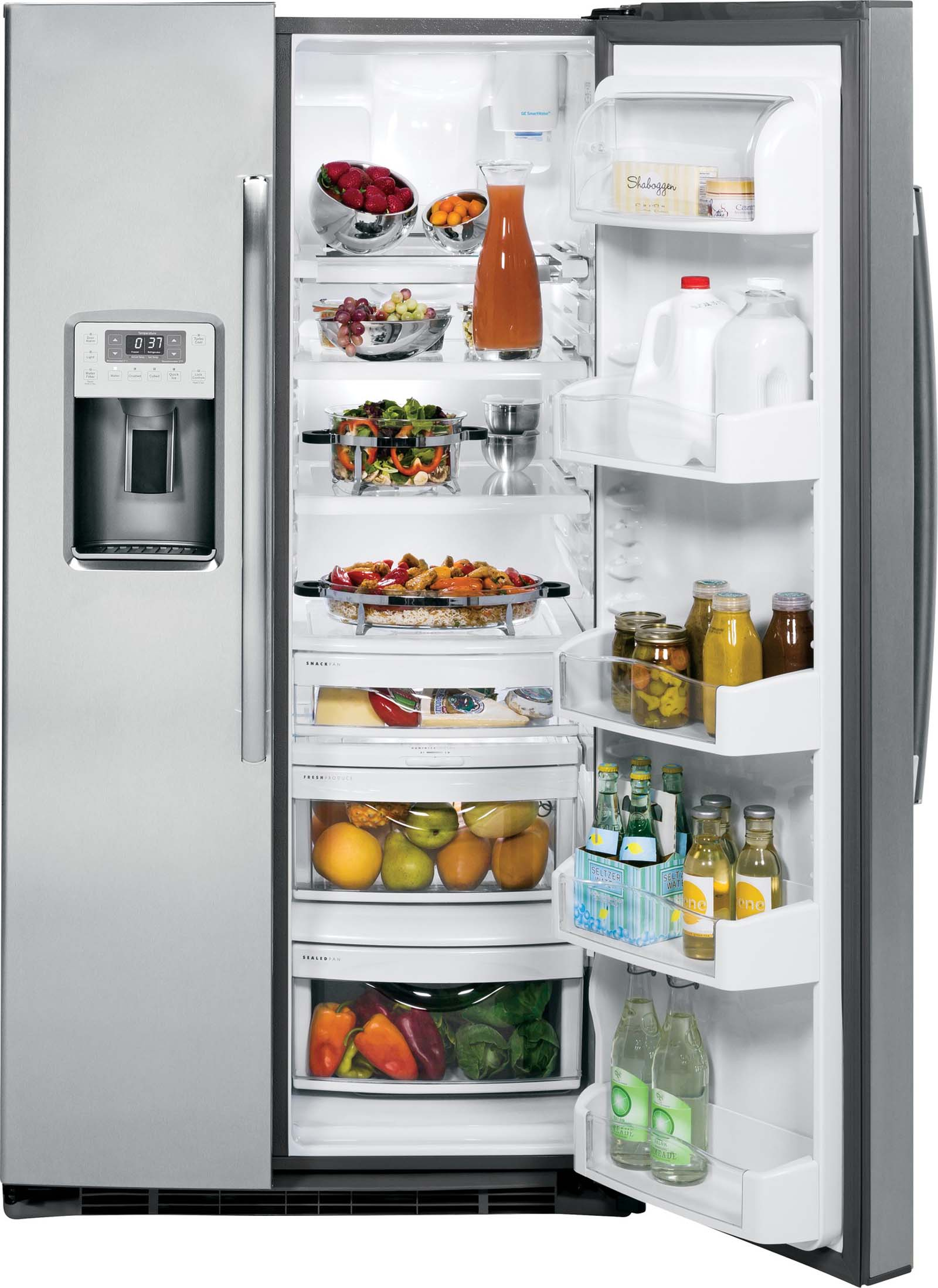 GE Profile 25 cu. ft. Side-by-Side Refrigerator - Stainless Steel