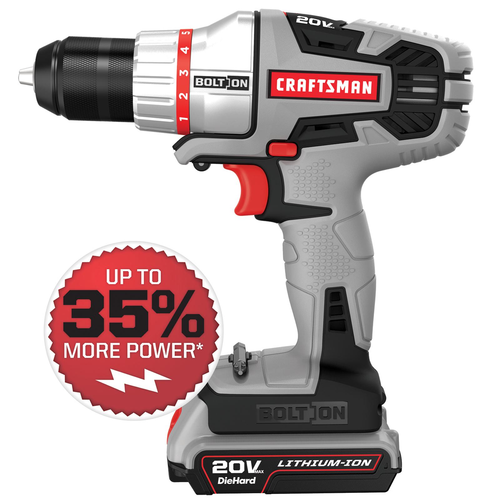 Craftsman Bolt-On ™ 20v max lithium ion drill/driver