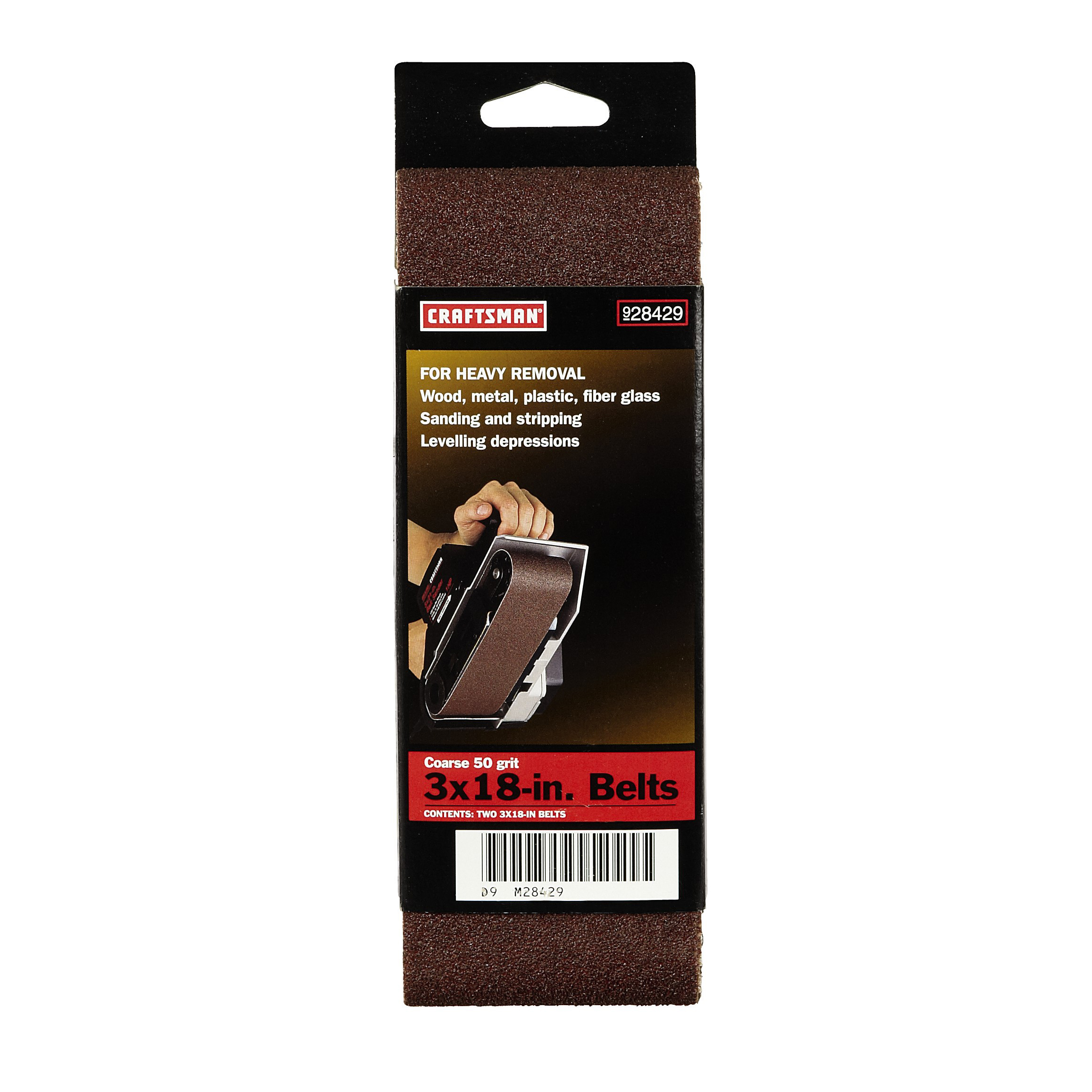 Craftsman 3 x 18 in. 50 Grit Belt, 2 pk.