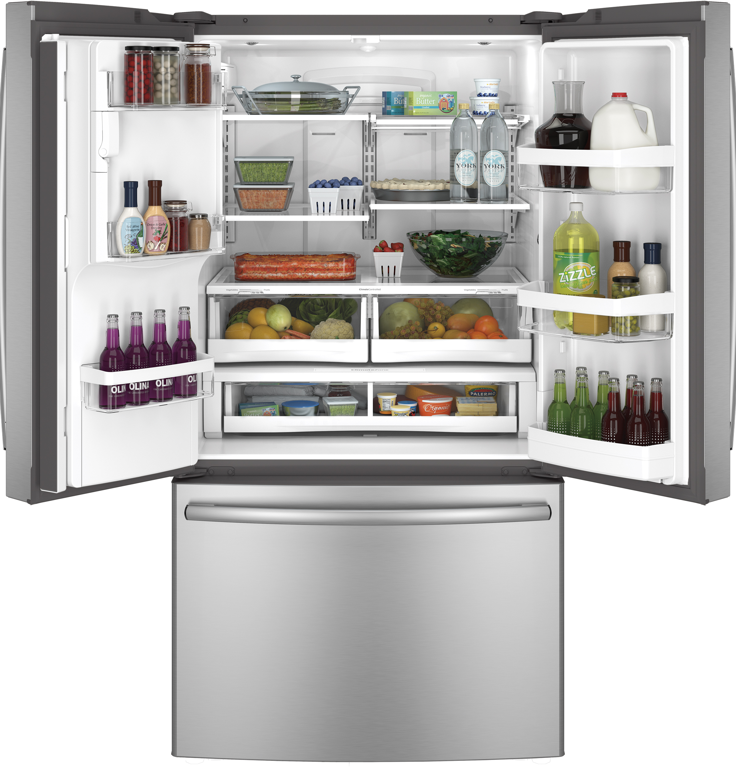 GE Appliances GFE28HSHSS 27.7 cu. ft. French-Door Ice and Water Refrigerator - Stainless Steel
