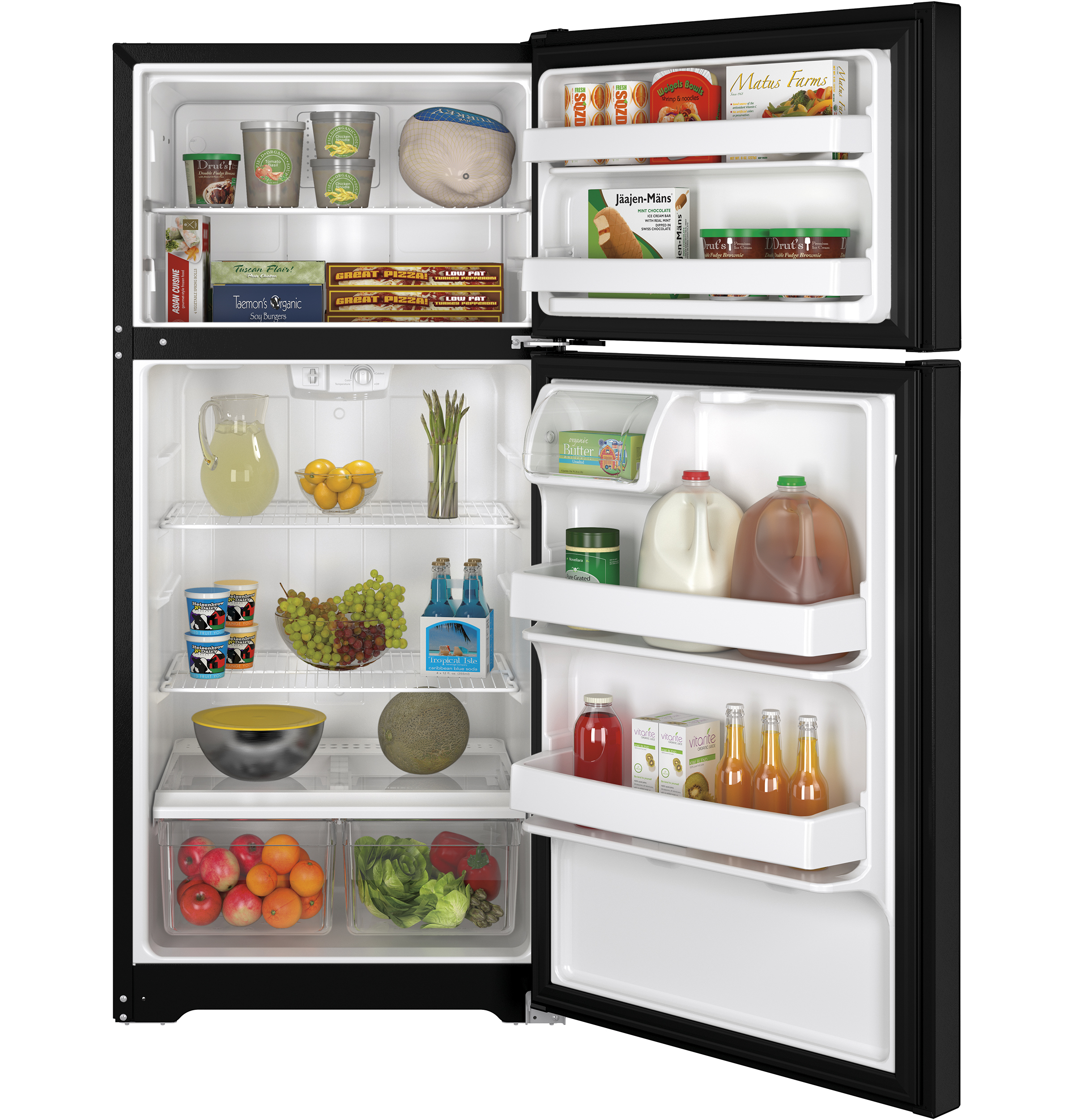 GE Appliances 14.6 Cu. Ft. Top-Freezer Refrigerator -Black