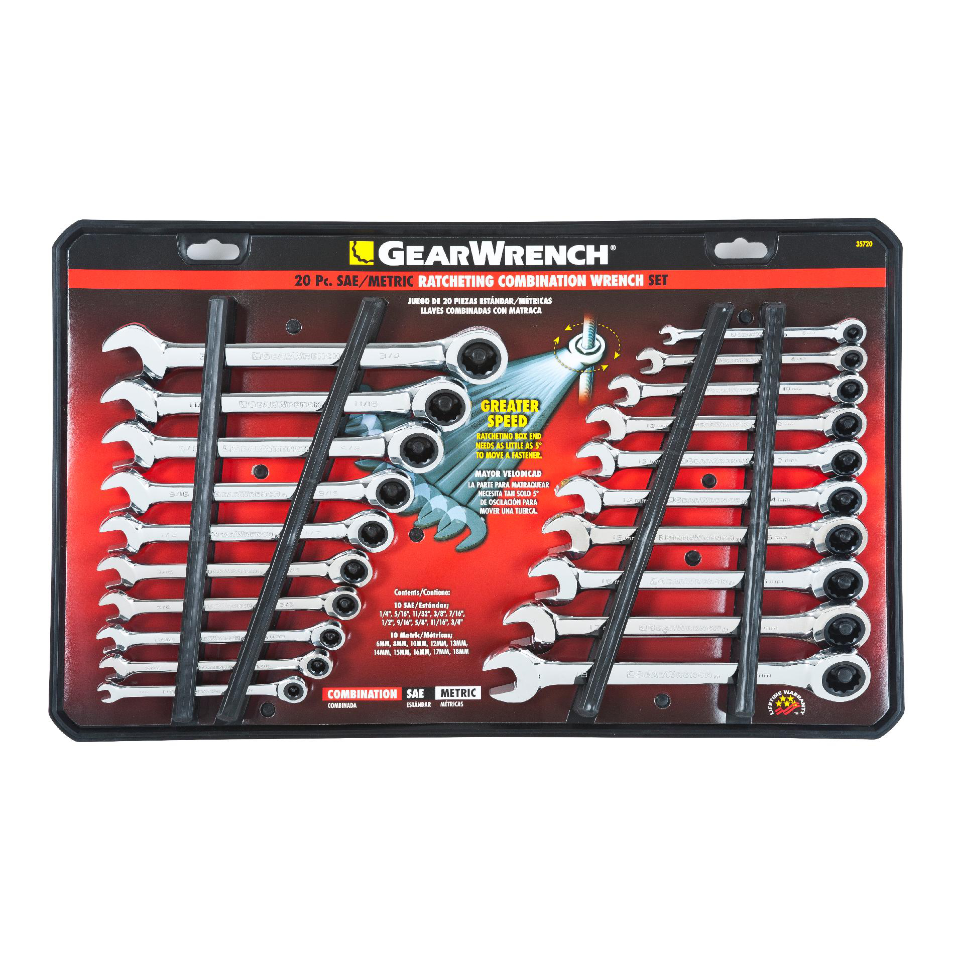 GearWrench 20PC Combination Ratcheting Wrench Set, SAE/MM