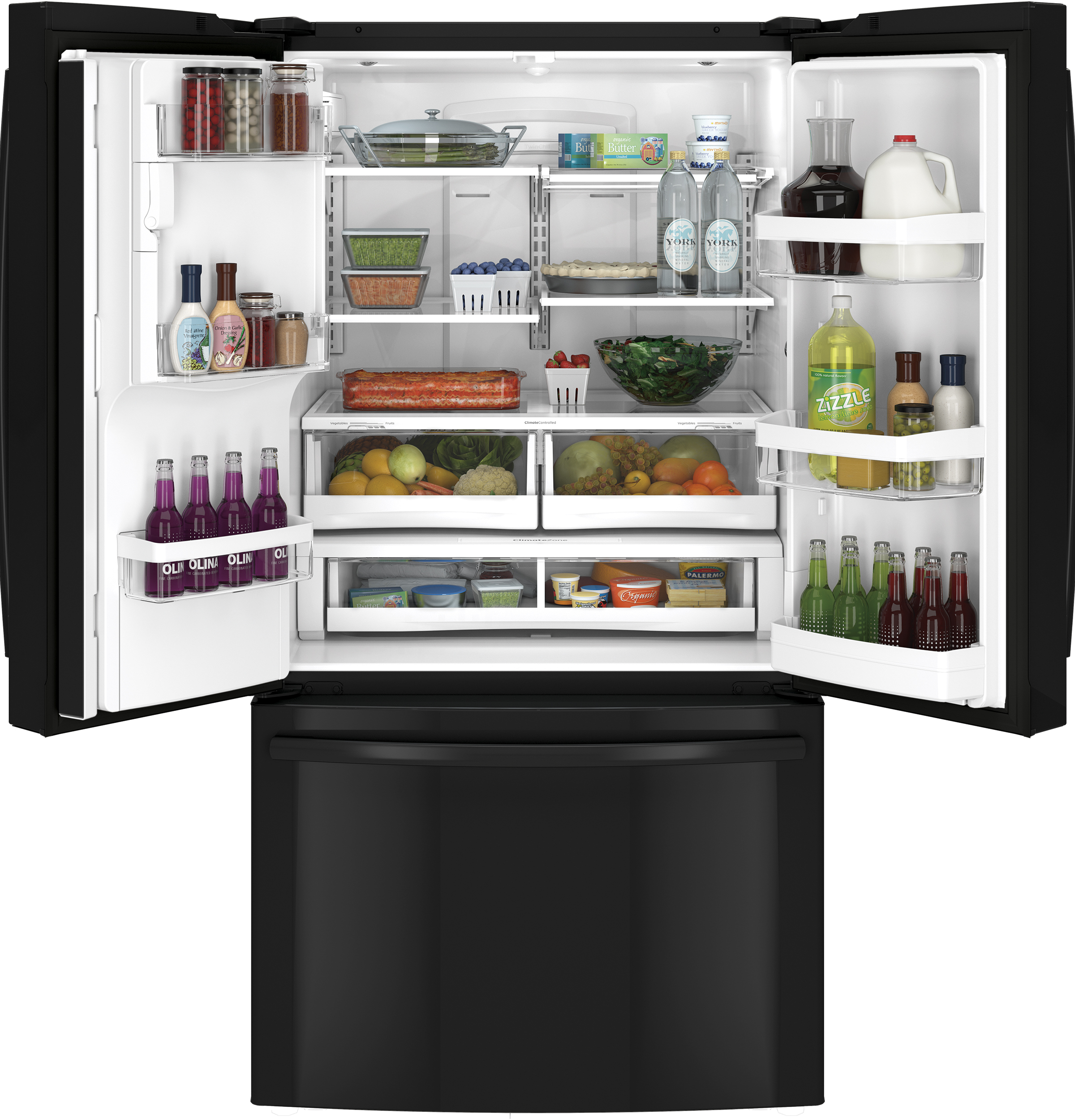 GE Appliances GFE28HGHBB 27.7 cu. ft. French-Door Ice and Water Refrigerator - Black