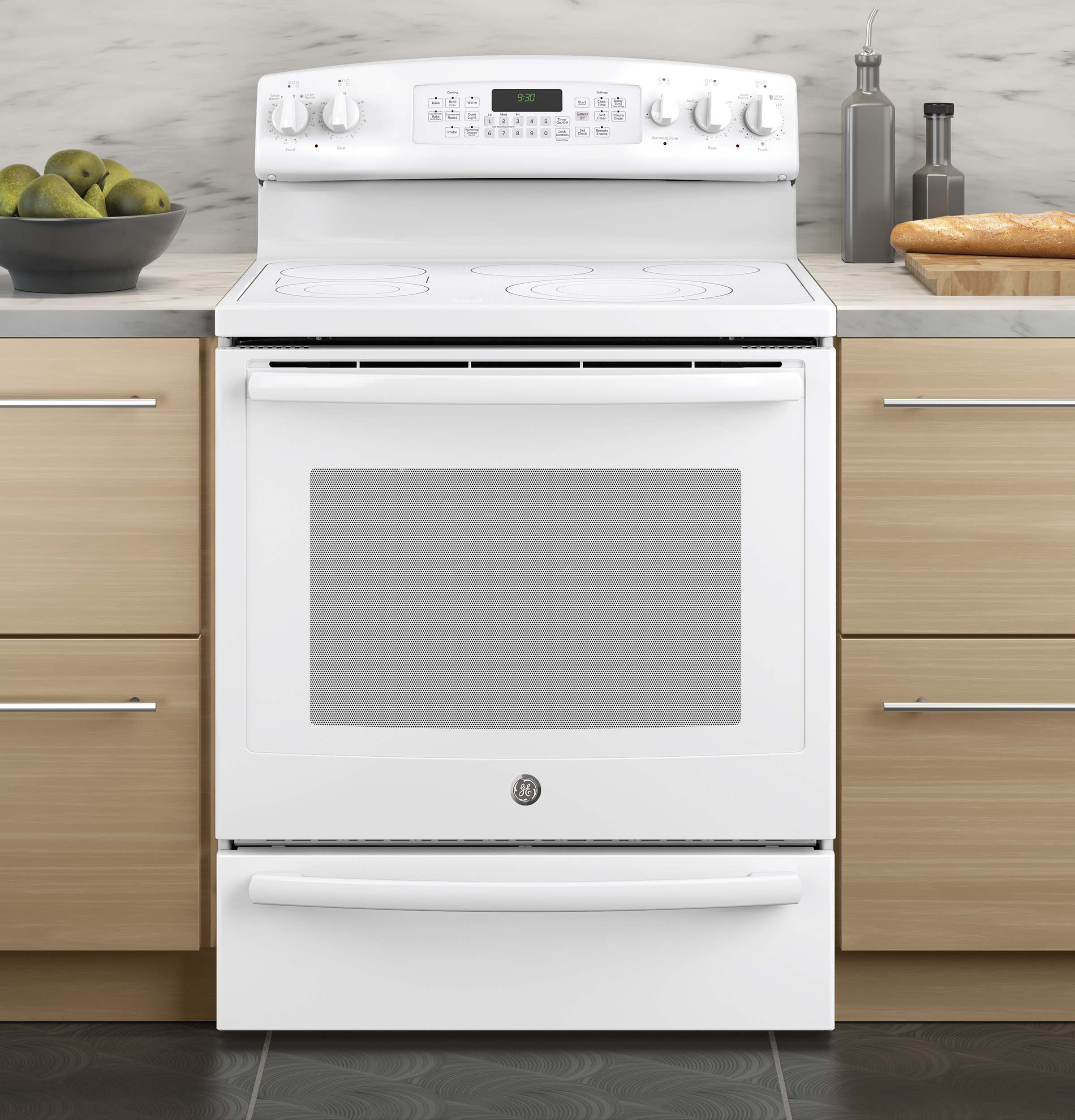 GE Profile 5.3 cu. ft. Free-Standing Electric Convection Range w/ Warming Drawer - White