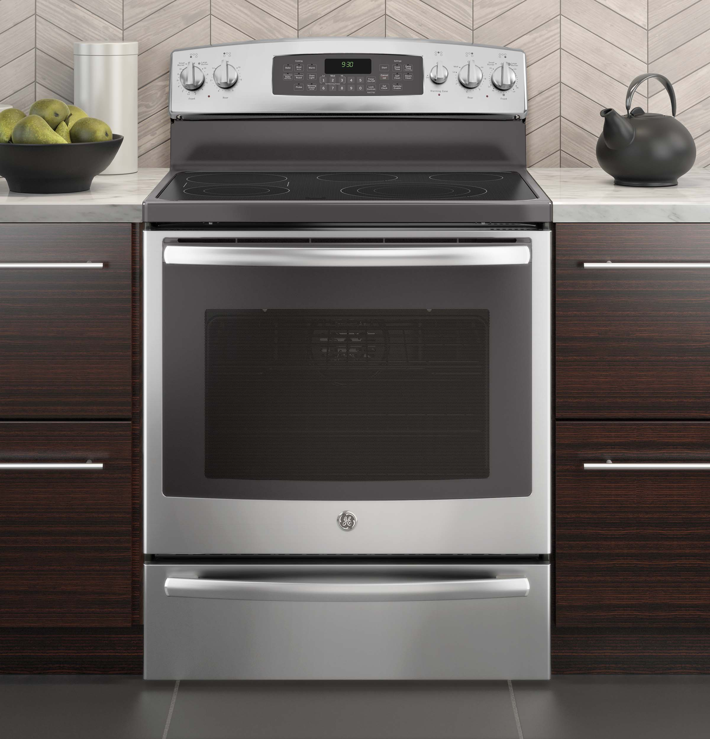 GE Profile 5.3 cu. ft. Free-Standing Electric Convection Range w/ Warming Drawer - Stainless
