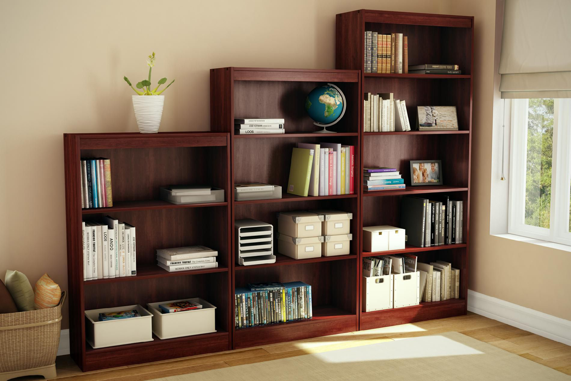 South Shore Axess Collection 5-Shelf Bookcase Royal Cherry