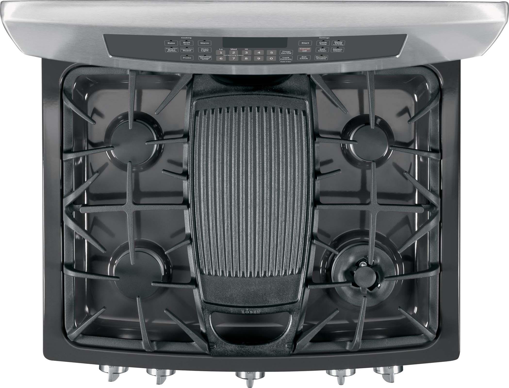 GE Profile 5.6 cu. ft. Free-Standing Self-Clean Gas Range w/ Warming Drawer - Stainless Steel