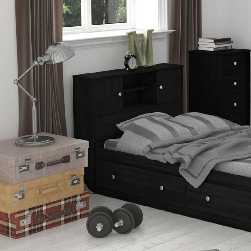 essential home belmont mates twin bed - black