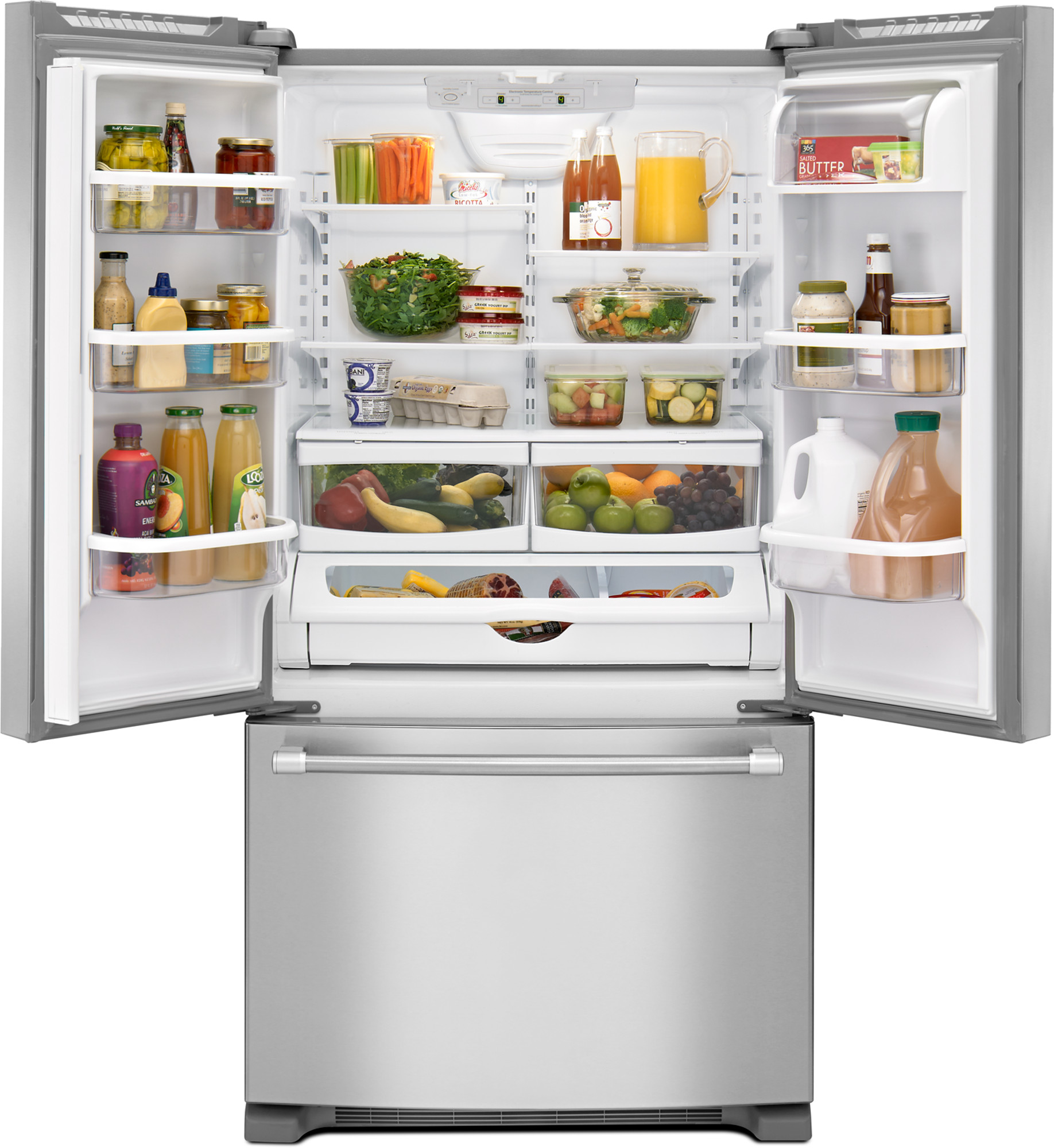 Maytag MFF2558DEM 25 cu. ft. French Door Refrigerator w/ Strongbox™ Hinges - Stainless Steel