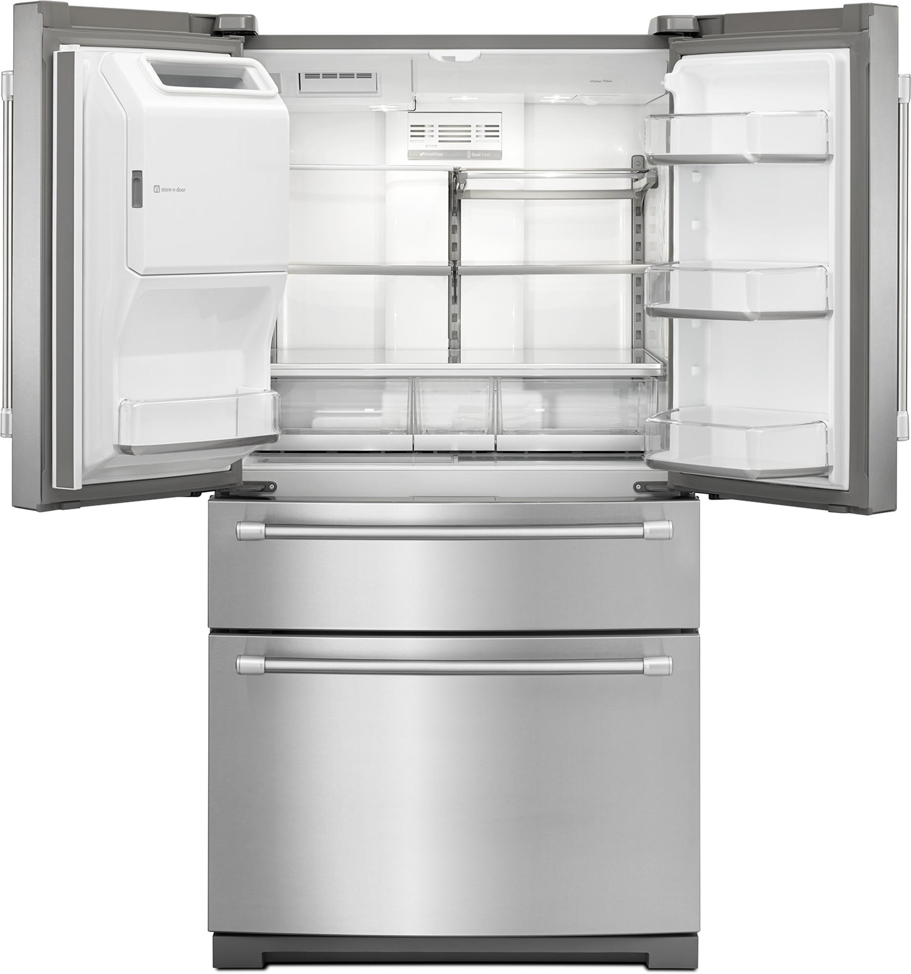 Maytag MFX2876DRM 26 cu. ft. 4-Door French Door Bottom Freezer Refrigerator w/ Steel Shelves - Stainless Steel