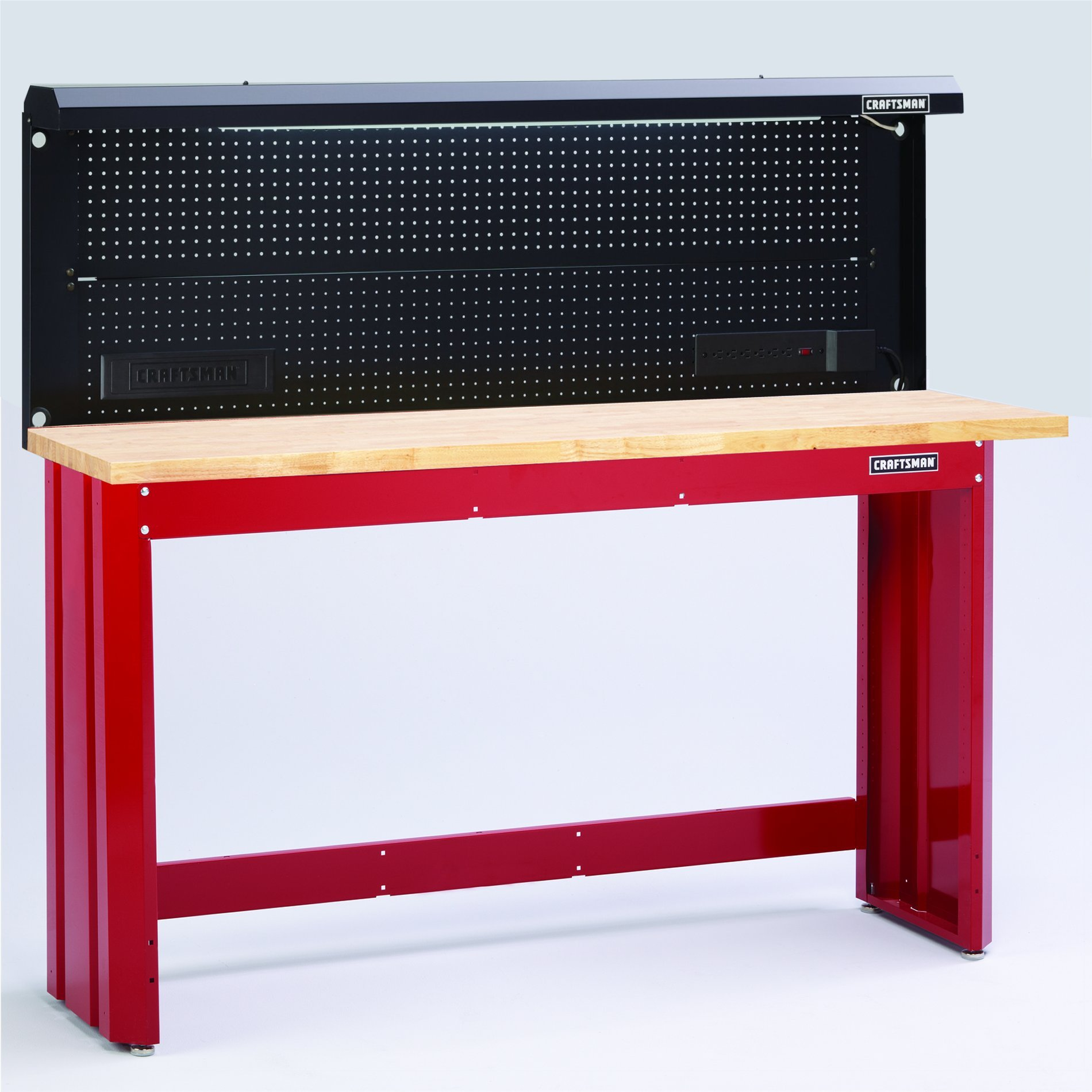 6-Ft. Red Workbench with Butcher Block Top and Backwall