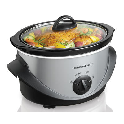 Hamilton Beach 4-Quart Black/Stainless Steel Oval Slow Cooker