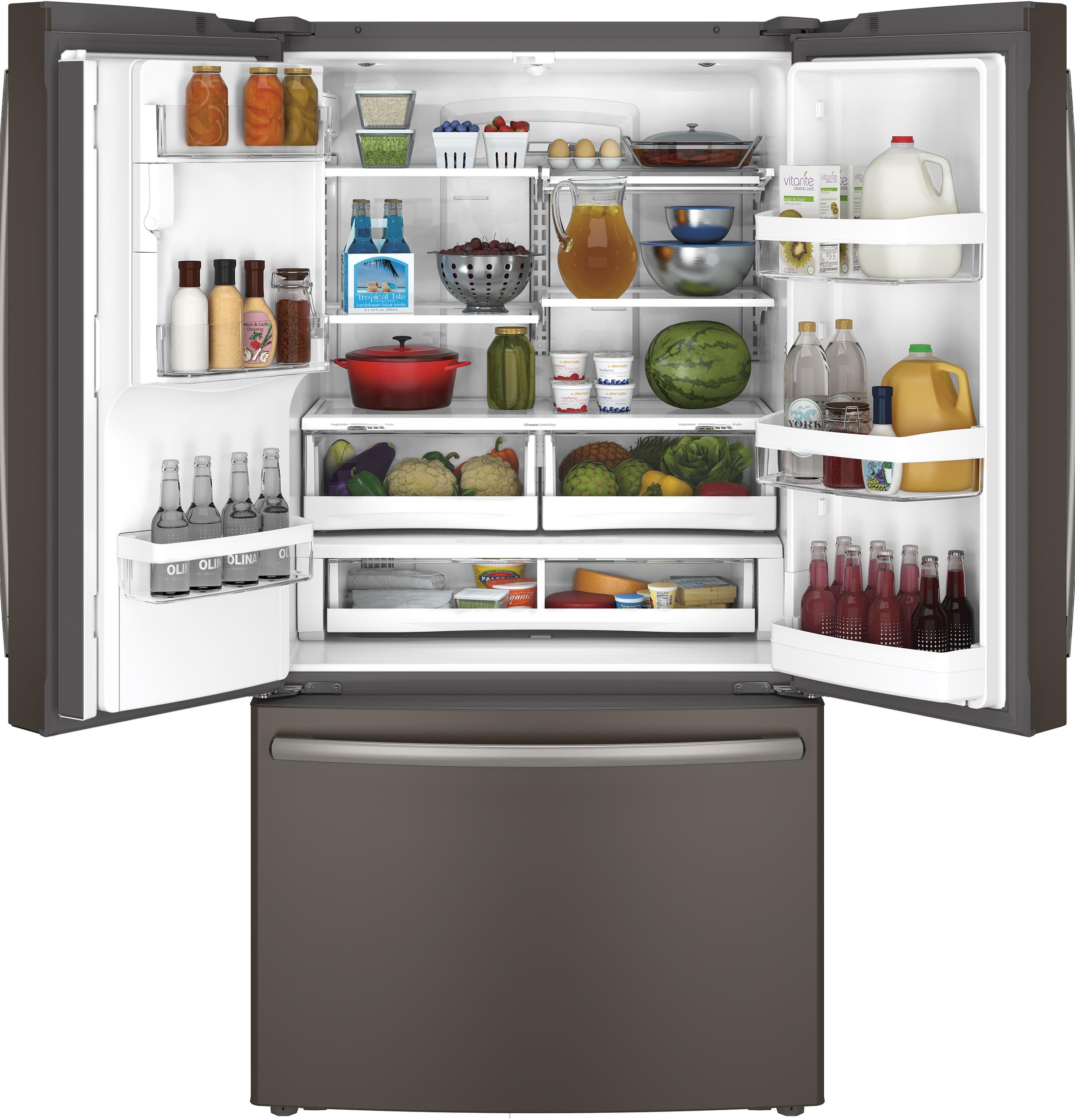 GE Appliances GYE22KMHES 22.1 cu. ft. Counter-Depth French-Door Refrigerator - Slate