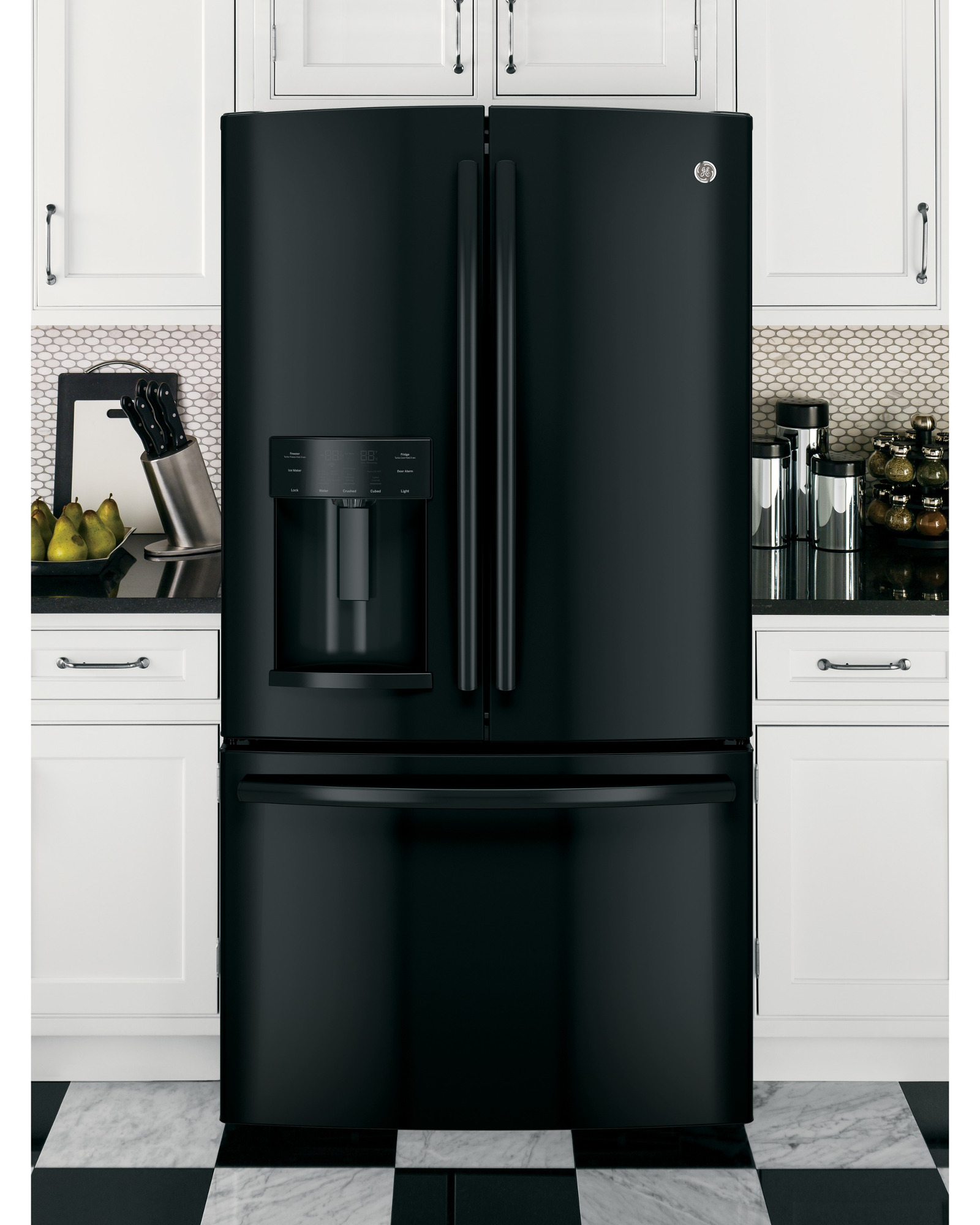 GE Appliances GFE26GGHBB 25.7 cu. ft. French-Door Ice and Water Refrigerator - Black
