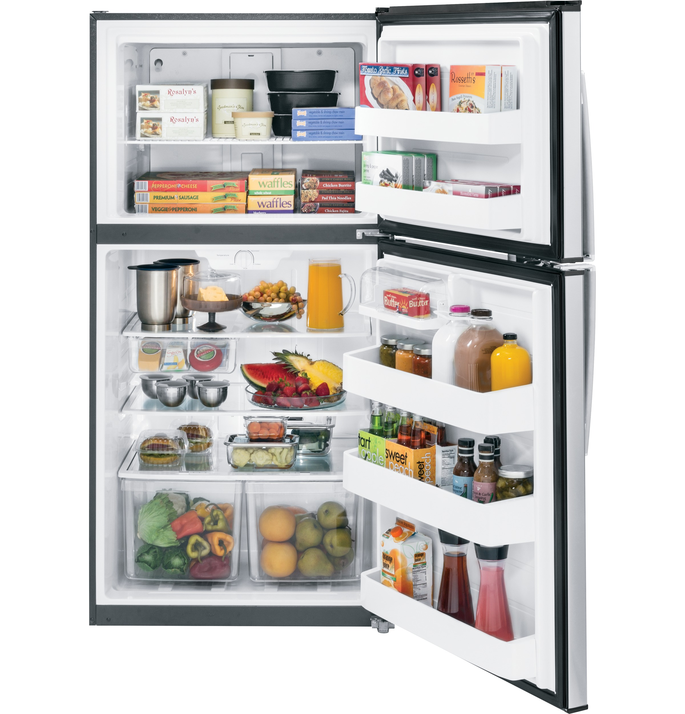 GE Appliances 21.2 cu. ft. Top-Freezer Refrigerator - Stainless Steel