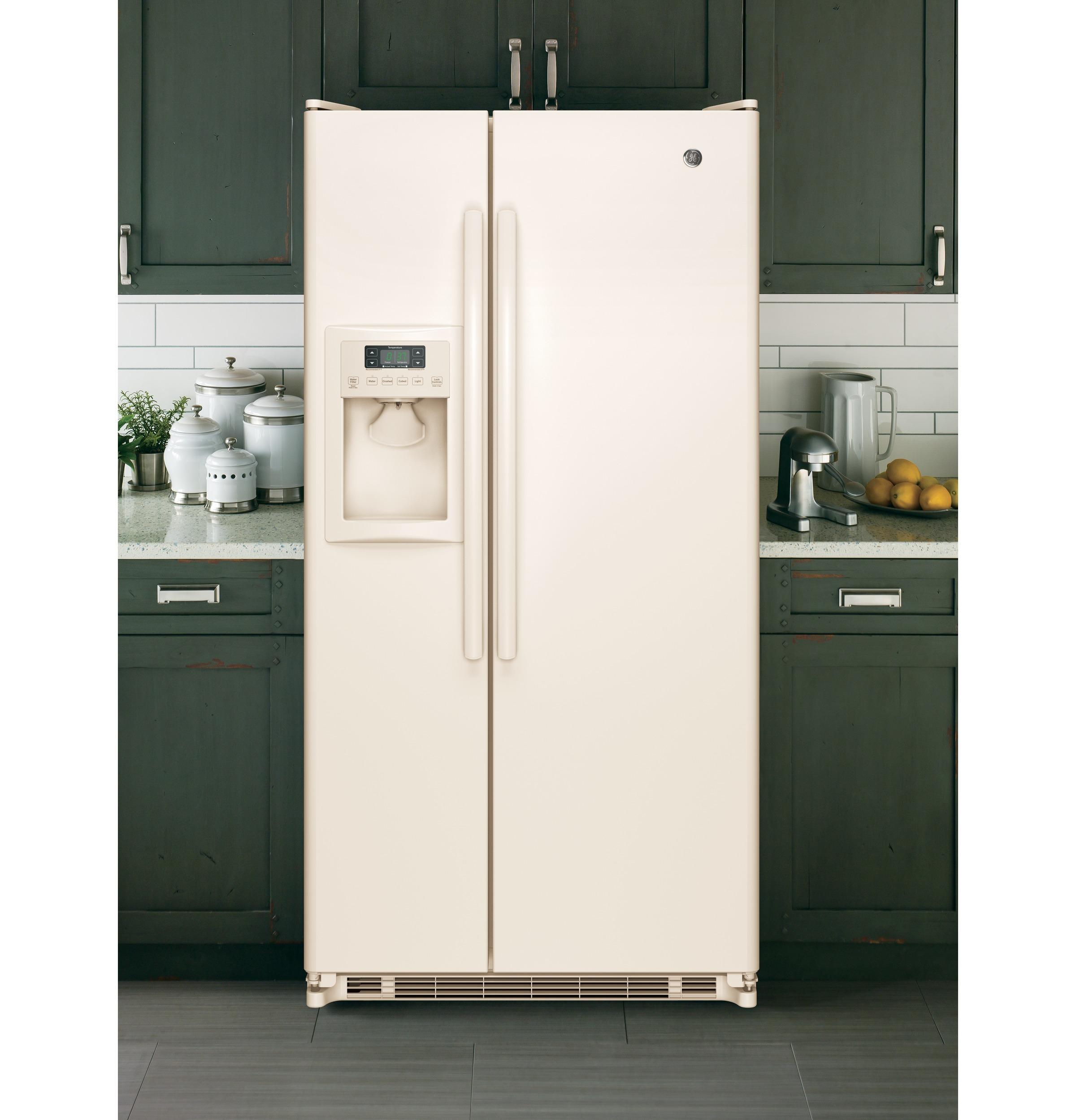 GE Appliances GSE22ETHCC 21.8 cu. ft. Side-by-Side Refrigerator - Bisque