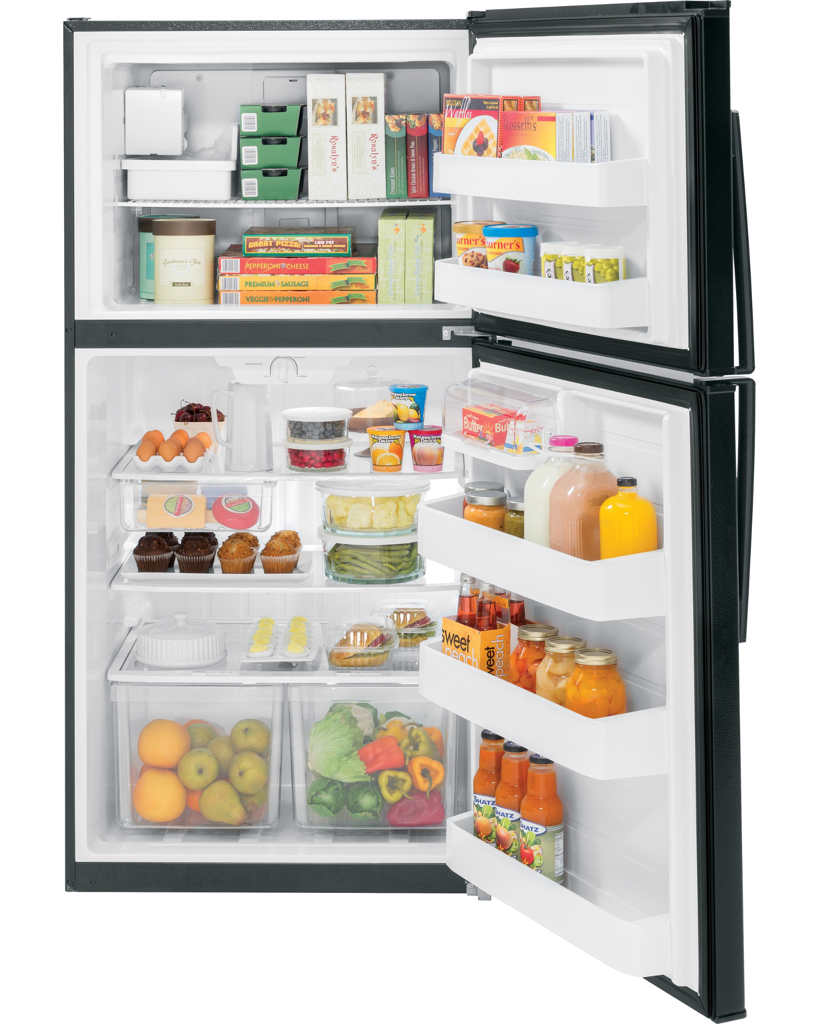 GE Appliances 21.2 cu. ft. Top-Freezer Refrigerator - Black