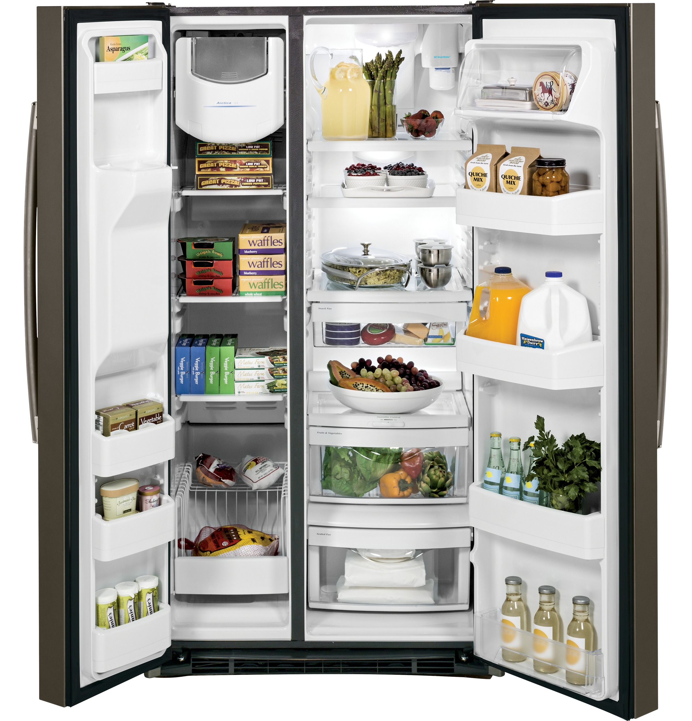 GE Appliances GSS25GMHES 25.4 cu. ft. Side-By-Side Refrigerator - Slate