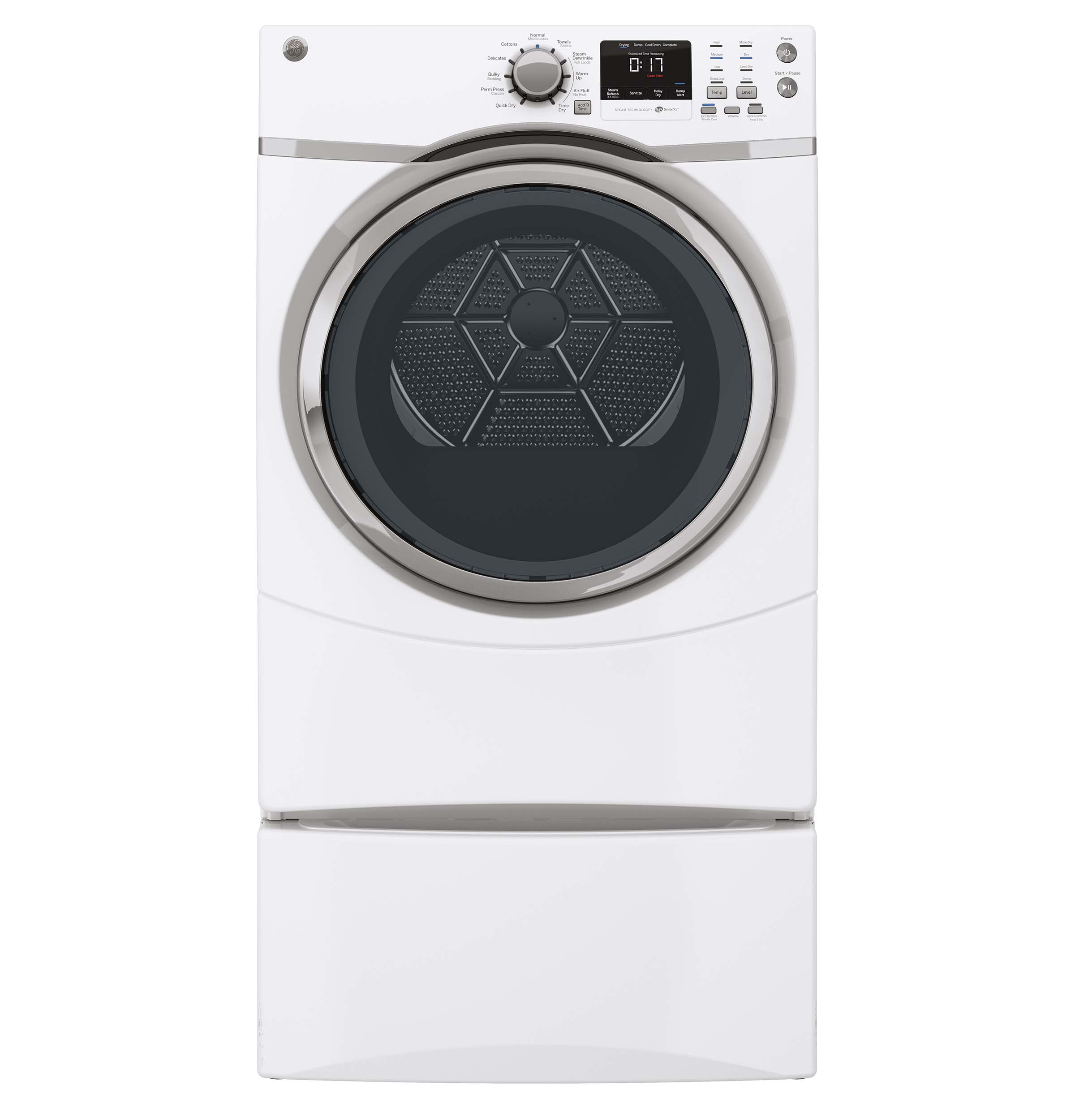 GE Appliances 7.5 cu. ft. Front-Load Electric Dryer w/ Steam - White GFDS170EHWW