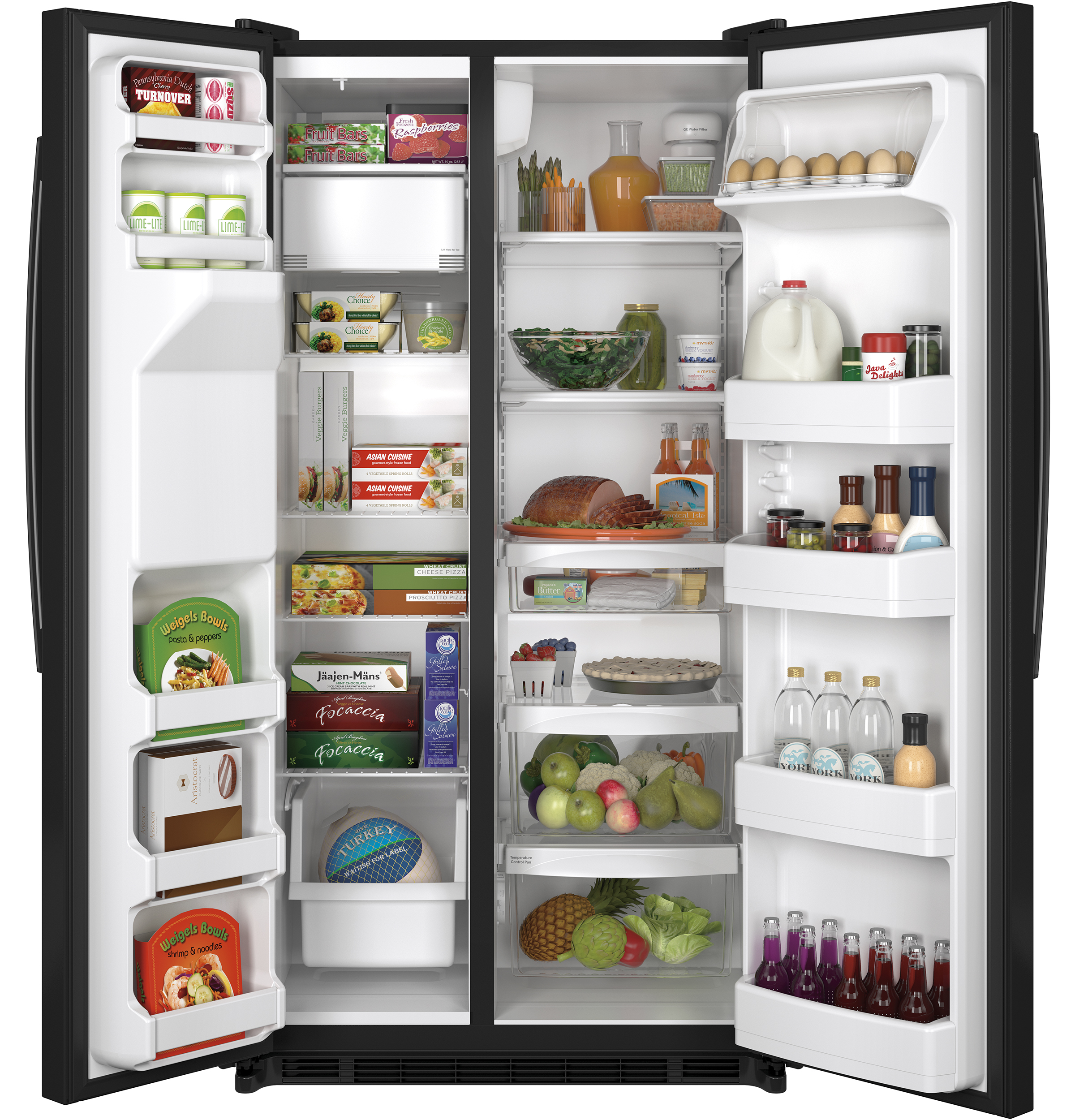 GE Appliances 25.4 cu. ft. Side-by-Side Refrigerator - Black