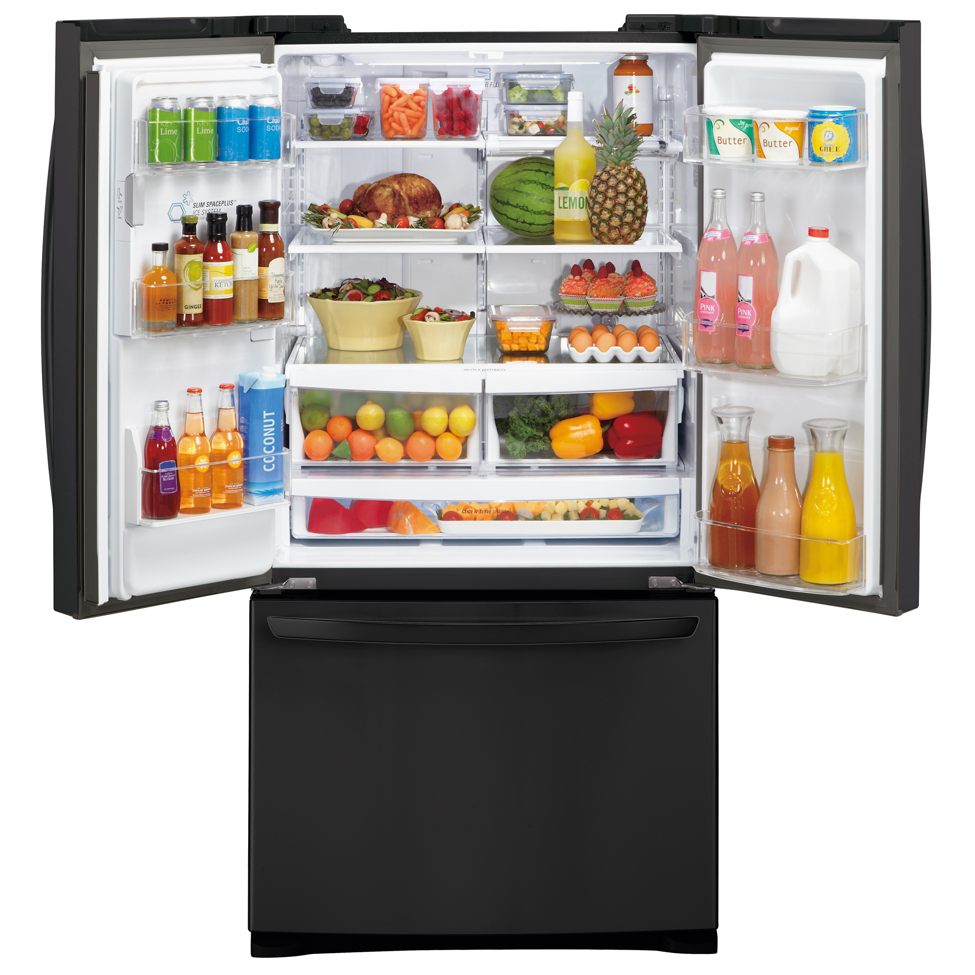 LG 27 cu. ft.  French Door Bottom-Freezer Refrigerator - Black