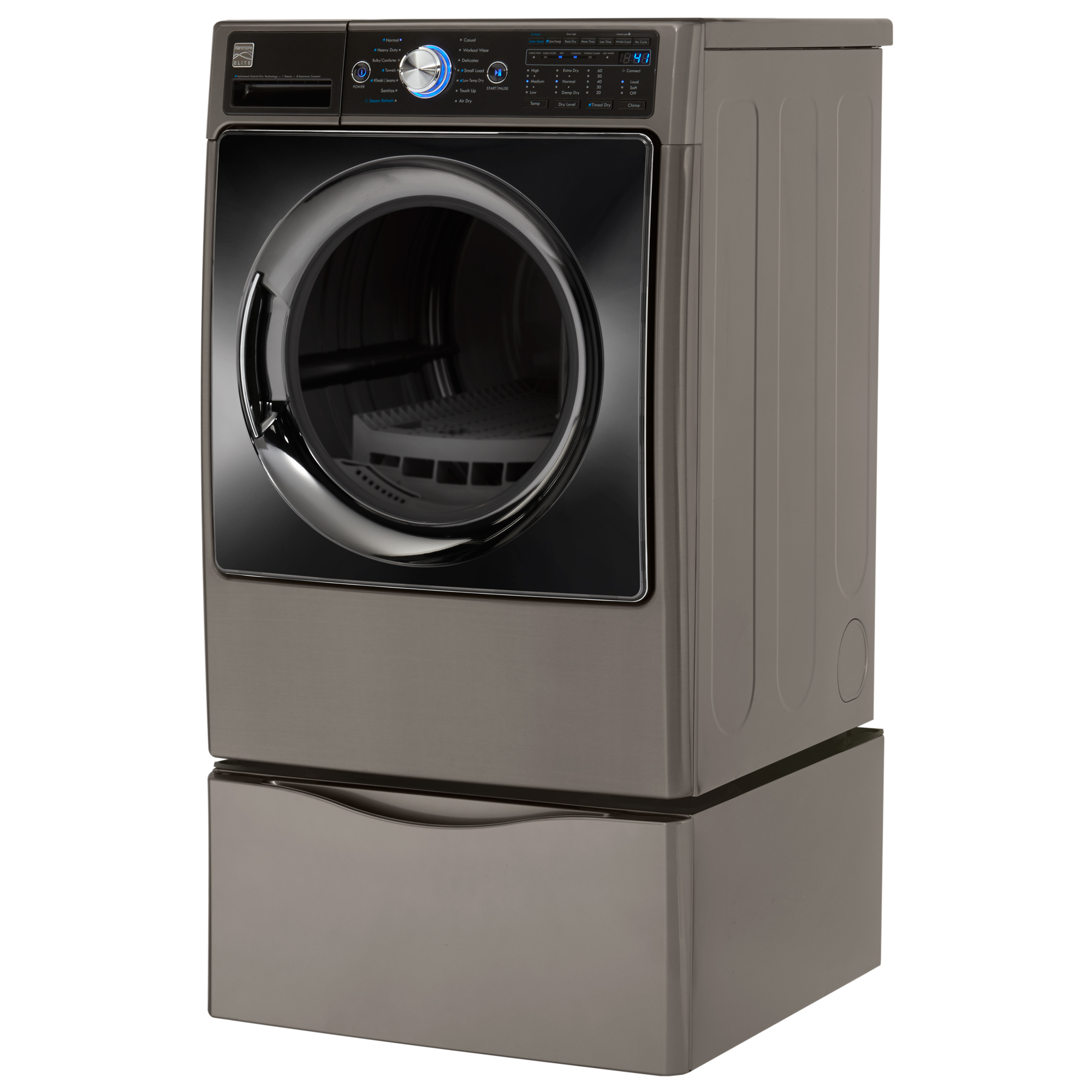 Kenmore Elite 81593 7.3 cu. ft. Advanced Hybrid Dry Technology (Heat Pump) Electric Dryer w/ Steam – Metallic Silver