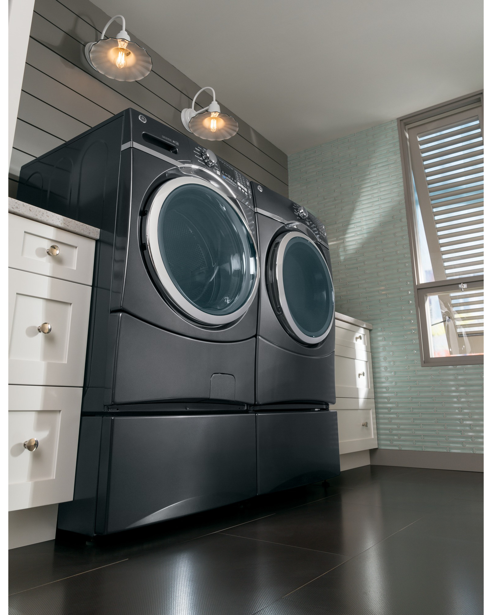 """GE Appliances SBSC137HDG 13"""" Diamond Gray Laundry Pedestal and Drawer"""