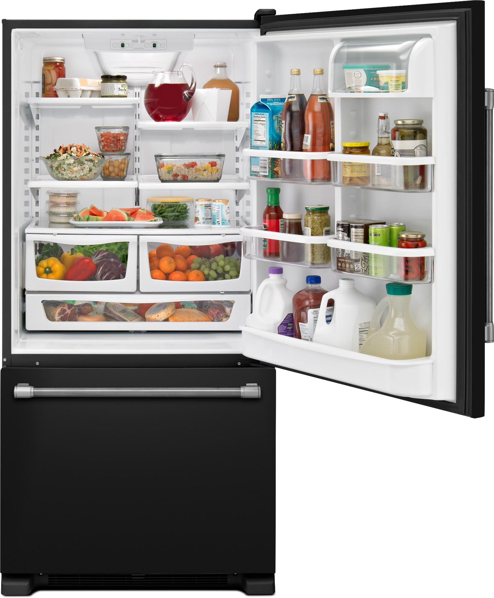 Maytag MBF2258DEE 22 cu. ft. Single Door Bottom Freezer Refrigerator - Black