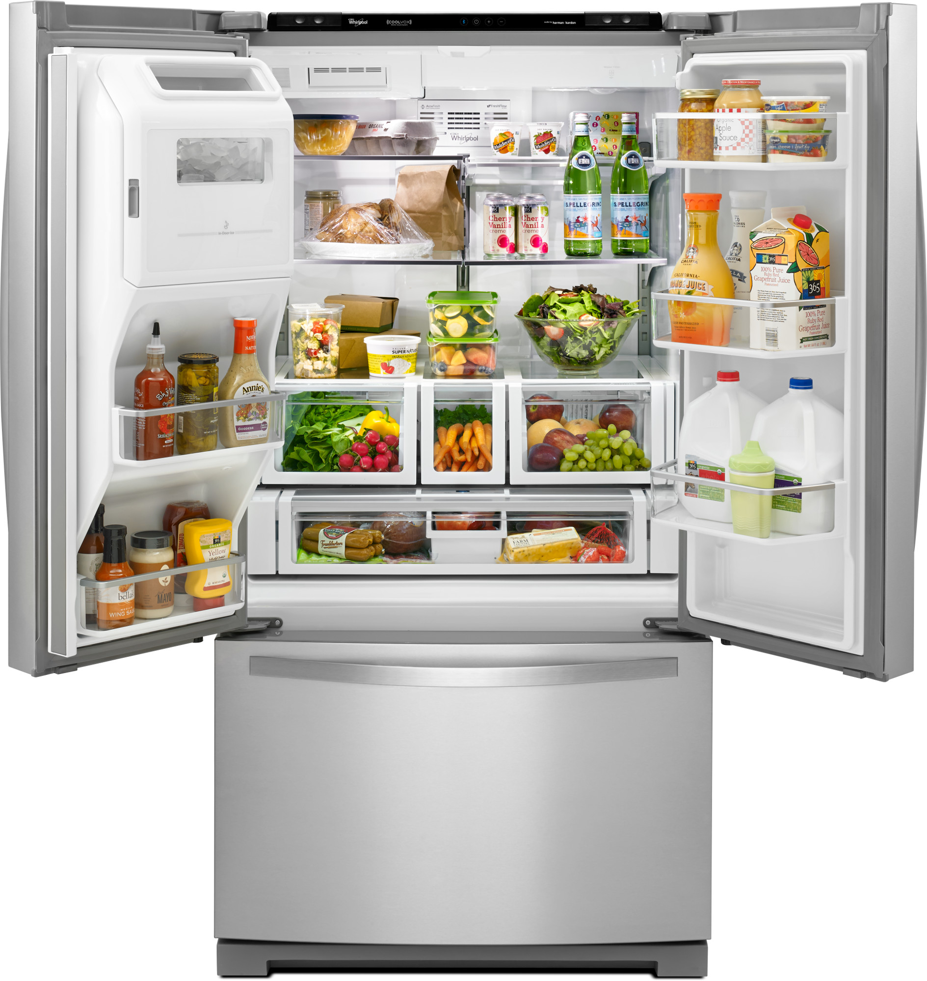 Whirlpool WRF997SDDM 27 cu. ft. French Door Refrigerator w/ Cool Vox™ Sound System - Stainless Steel WRF997SDDM