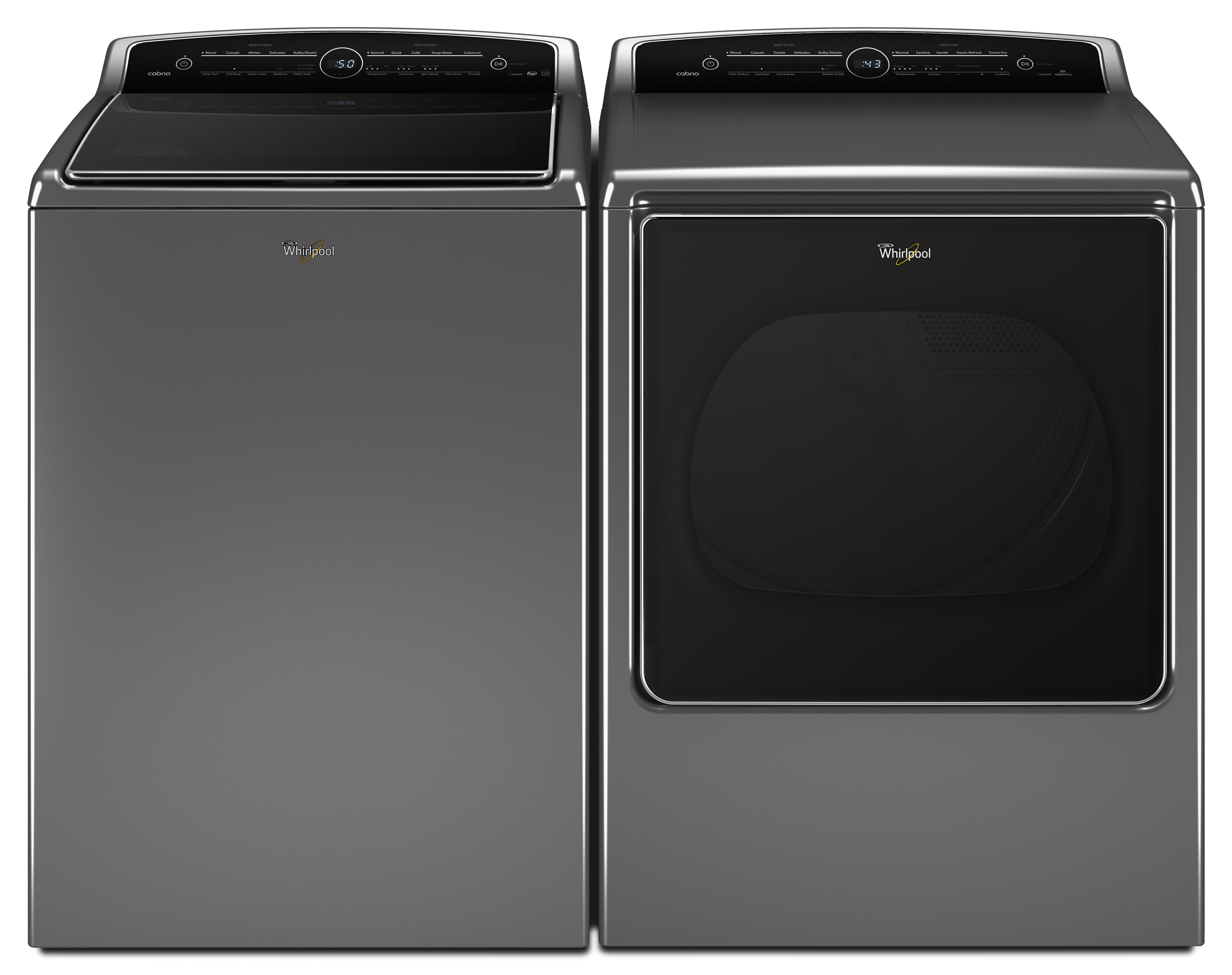 Whirlpool WGD8500DC 8.8 cu. ft. Cabrio® High-Efficiency Gas Steam Dryer - Chrome Shadow