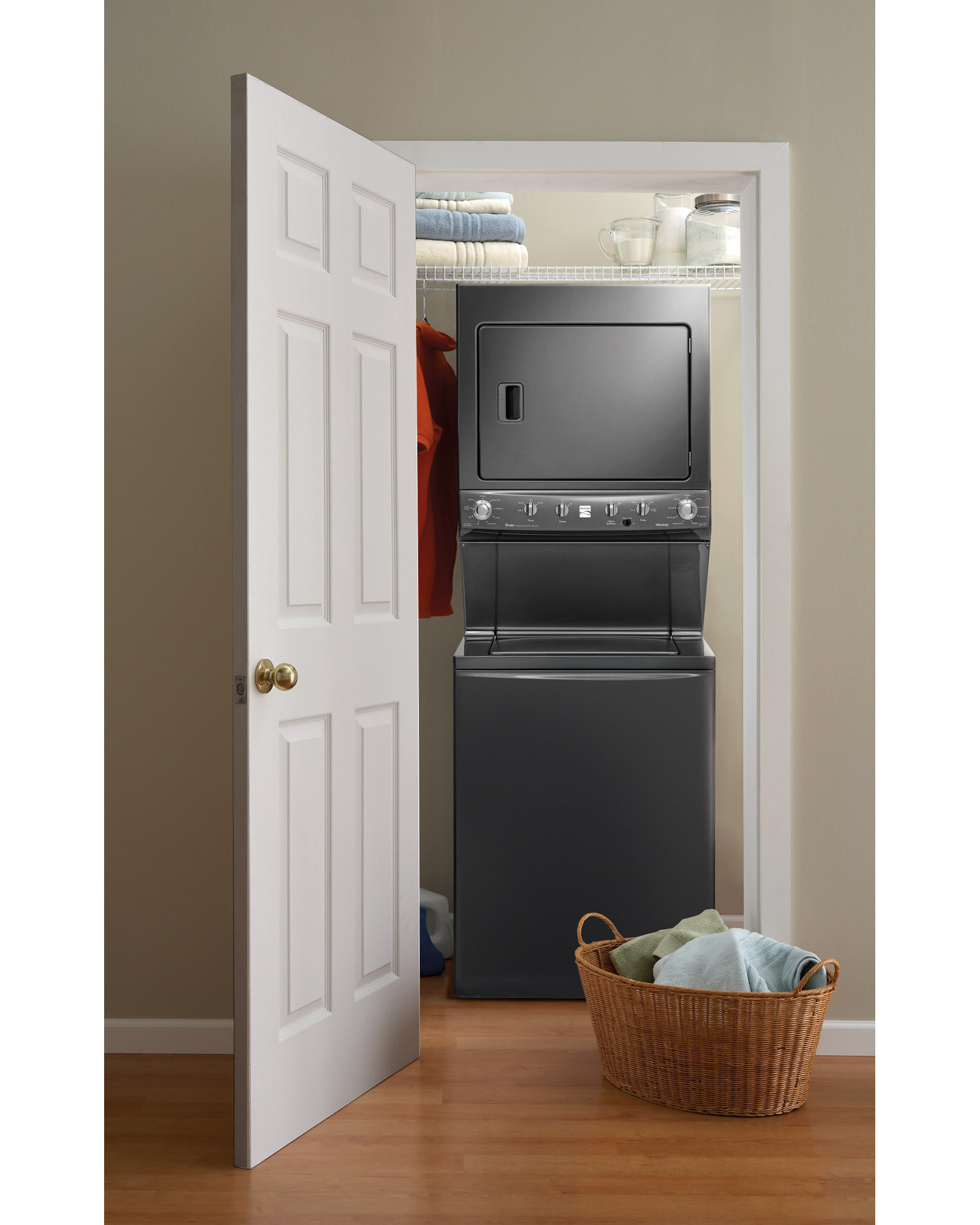 """Kenmore High Efficiency 27"""" Super Capacity 3.8 cu. ft. Electric Laundry Center - Metallic"""