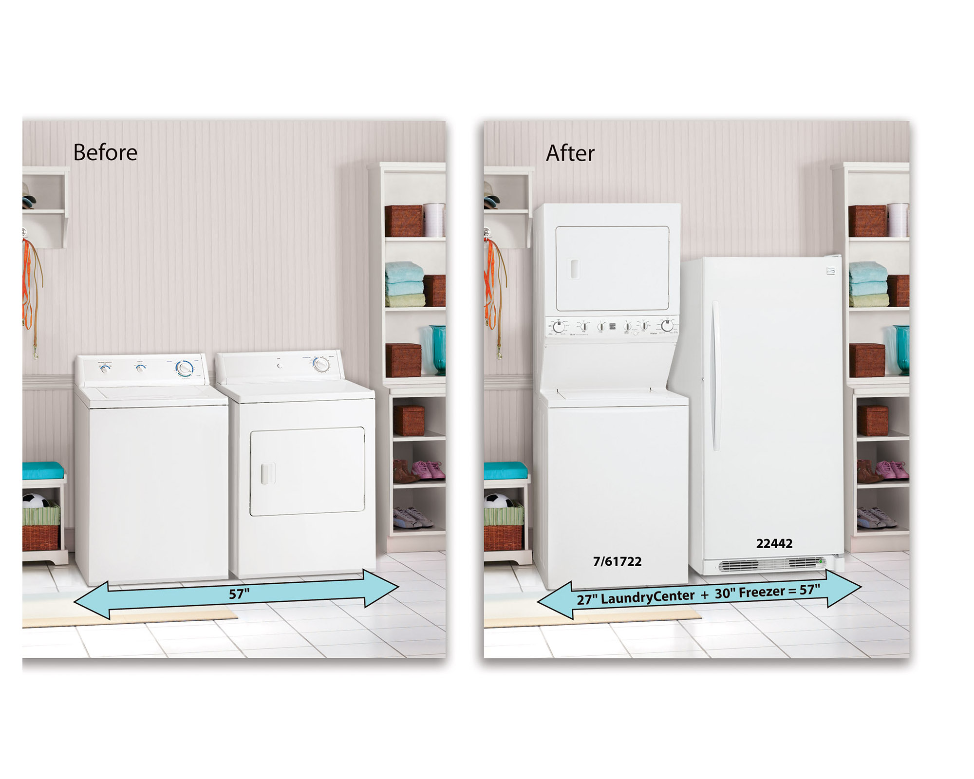 """Kenmore High Efficiency 27"""" Super Capacity 3.8 cu. ft. Electric Laundry Center- White"""